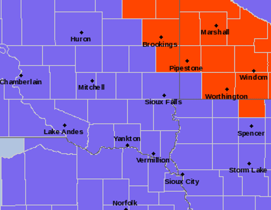 The areas in purple are under a winter weather advisory on Wednesday, Feb. 6, 2019 and Thursday, Feb. 7, 2019. Areas in the red are in a blizzard warning Thursday.