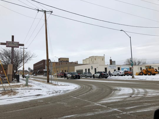 Police near Eighth Street and Weber Avenue in Sioux Falls, not far from where a stolen car crashed on Jan. 5, 2019.