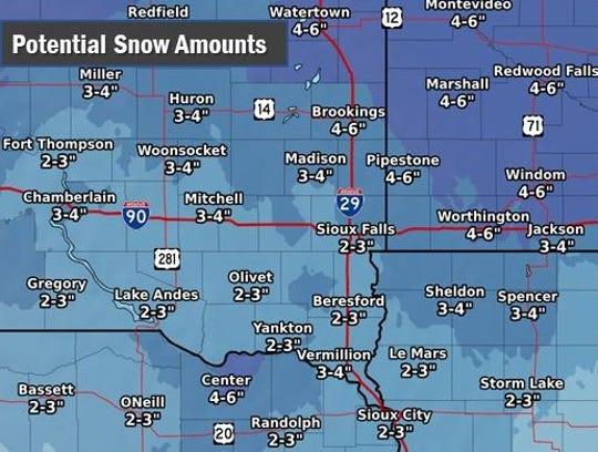Potential snow amounts for southeast South Dakota by Thursday, Jan. 7, 2019.