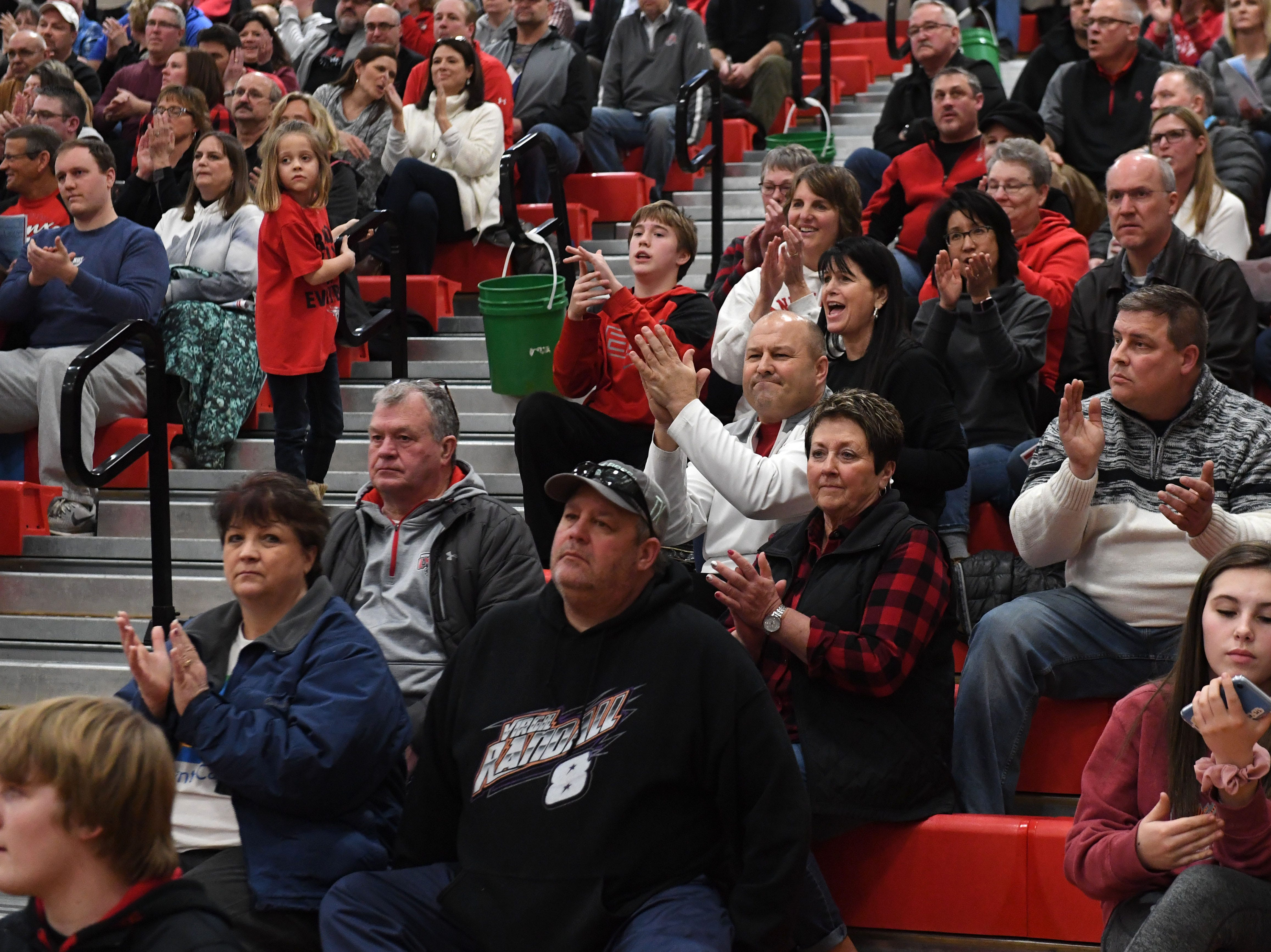 Audience reacts during the Lincoln and Brandon Valley game in Sioux Falls, S.D., Tuesday, Feb. 5, 2019.