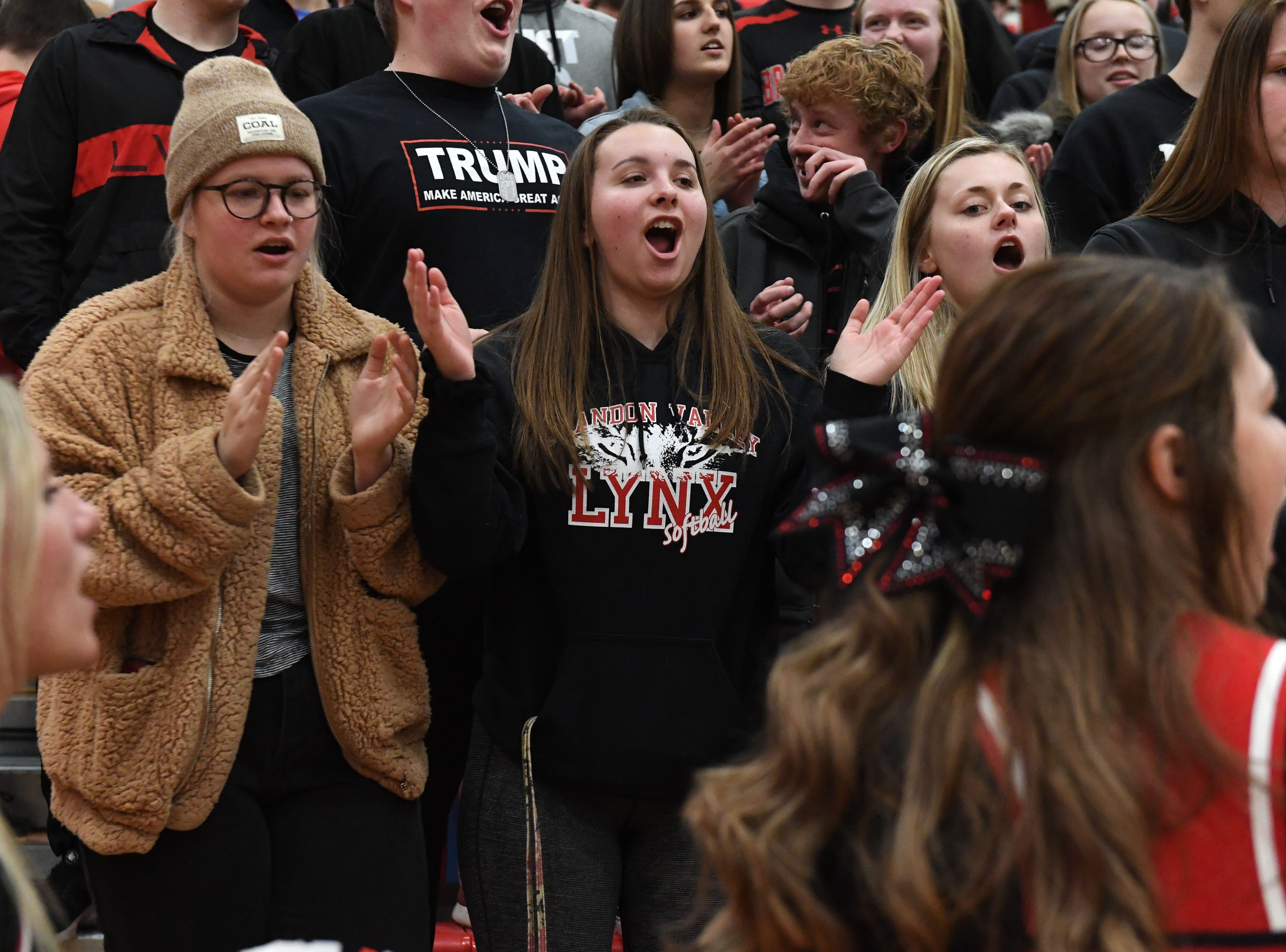Brandon Valley fans react during a game against Lincoln in Sioux Falls, S.D., Tuesday, Feb. 5, 2019.