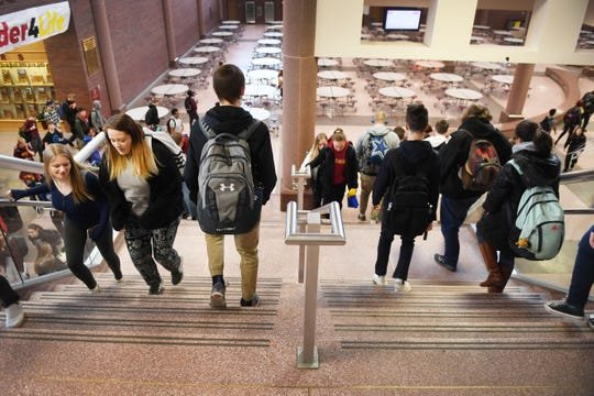 Roosevelt High School during a transition period Wednesday, Feb. 6, in Sioux Falls. The high school has roughly 2,300 students and is over-capacity.