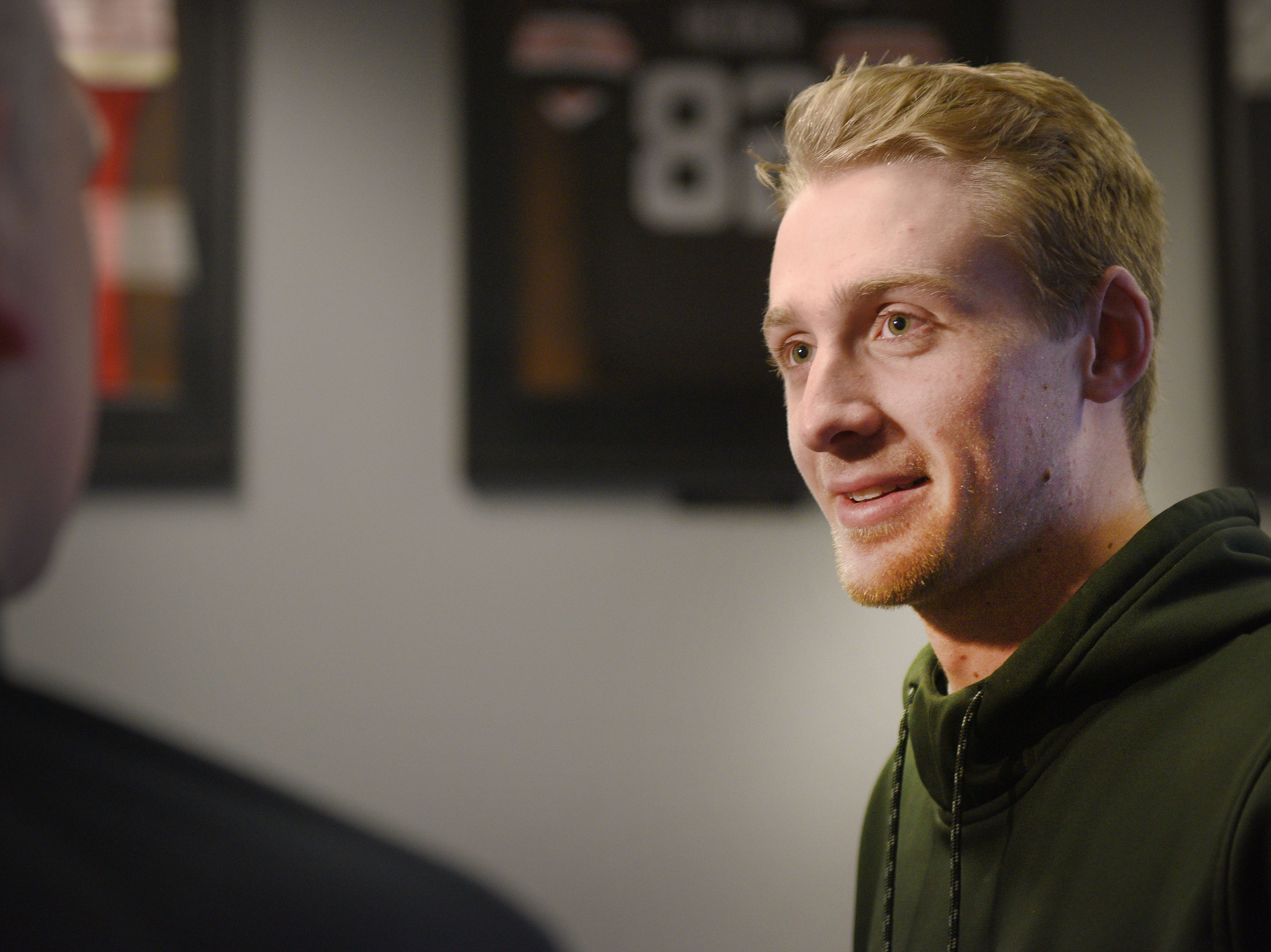 Washington's Jayden Johannsen gives interviews during signing day Wednesday, Feb. 6, at Avera Sports Institute in Sioux Falls. Johannsen singed a National Letter of Intent to play football at North Dakota State University.
