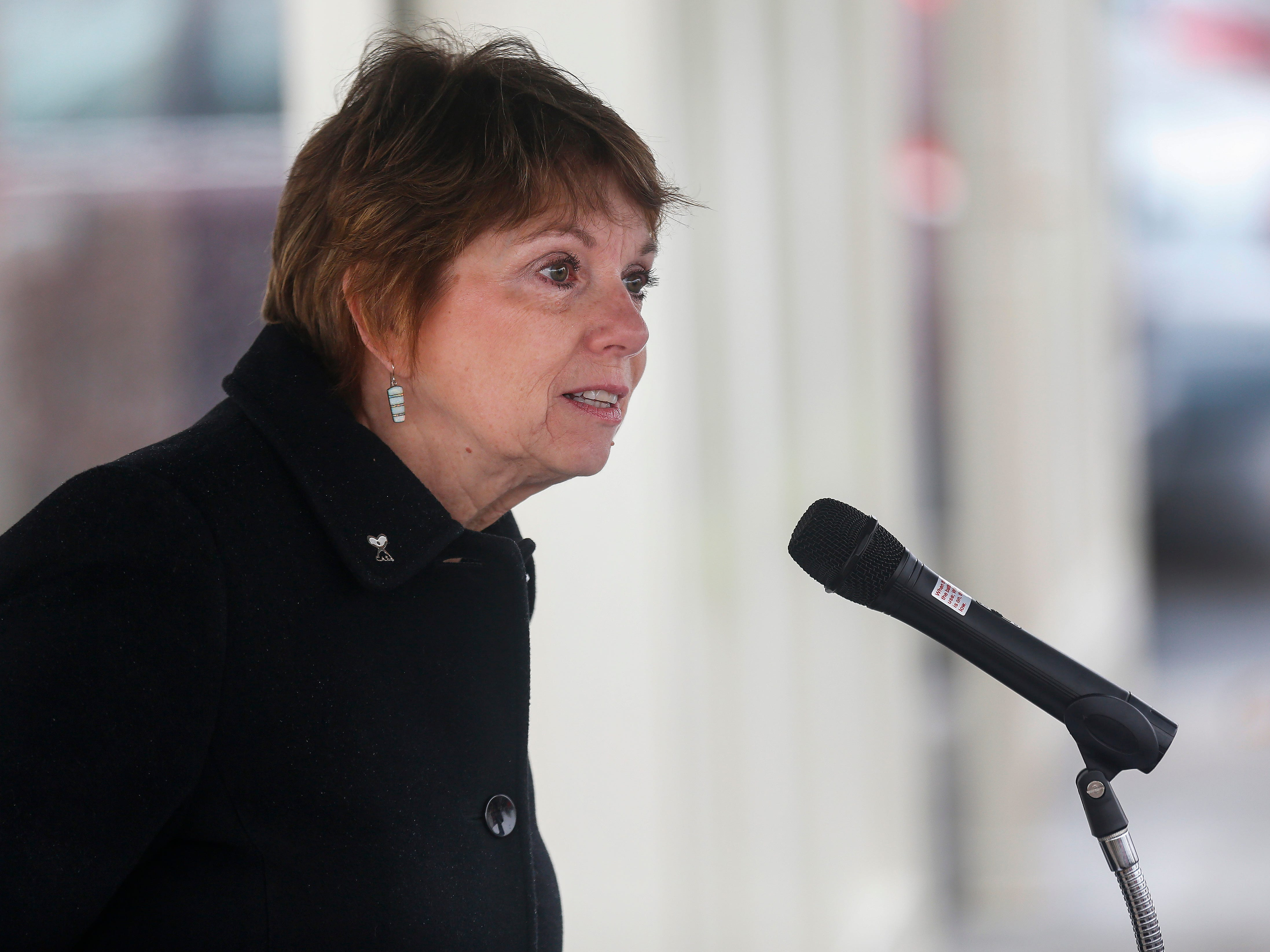 Springfield Zone 1 Councilwoman Phyllis Ferguson speaks during the grand opening of the new Library Express West located at 3872 W. Chestnut Expressway in Orchard Plaza on Wednesday, Feb. 6, 2019.