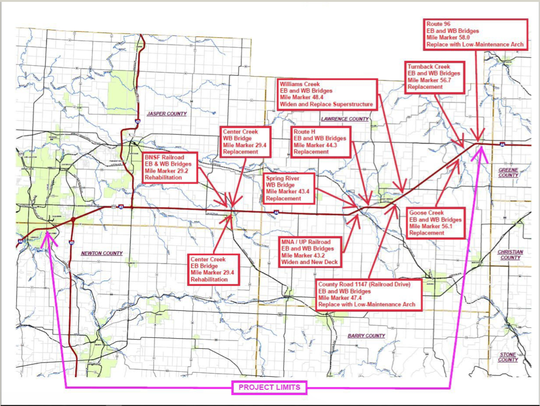 A map of the 19 bridges to be replaced or repaired during a $36.1 million state project.