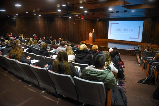 Former University of Minnesota student Abby Honold speaks during a presentation Wednesday, Feb. 6, at St. Cloud State University.
