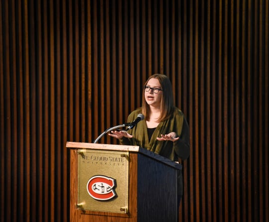Abby Honold speaks during a presentation outlining her experiences as a victim of sexual assault Wednesday, Feb. 6, at St. Cloud State University.