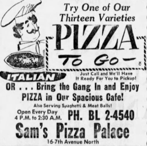 An advertisement for Sam's Pizza Palace that ran in a Dec. 1956 St. Cloud Times.