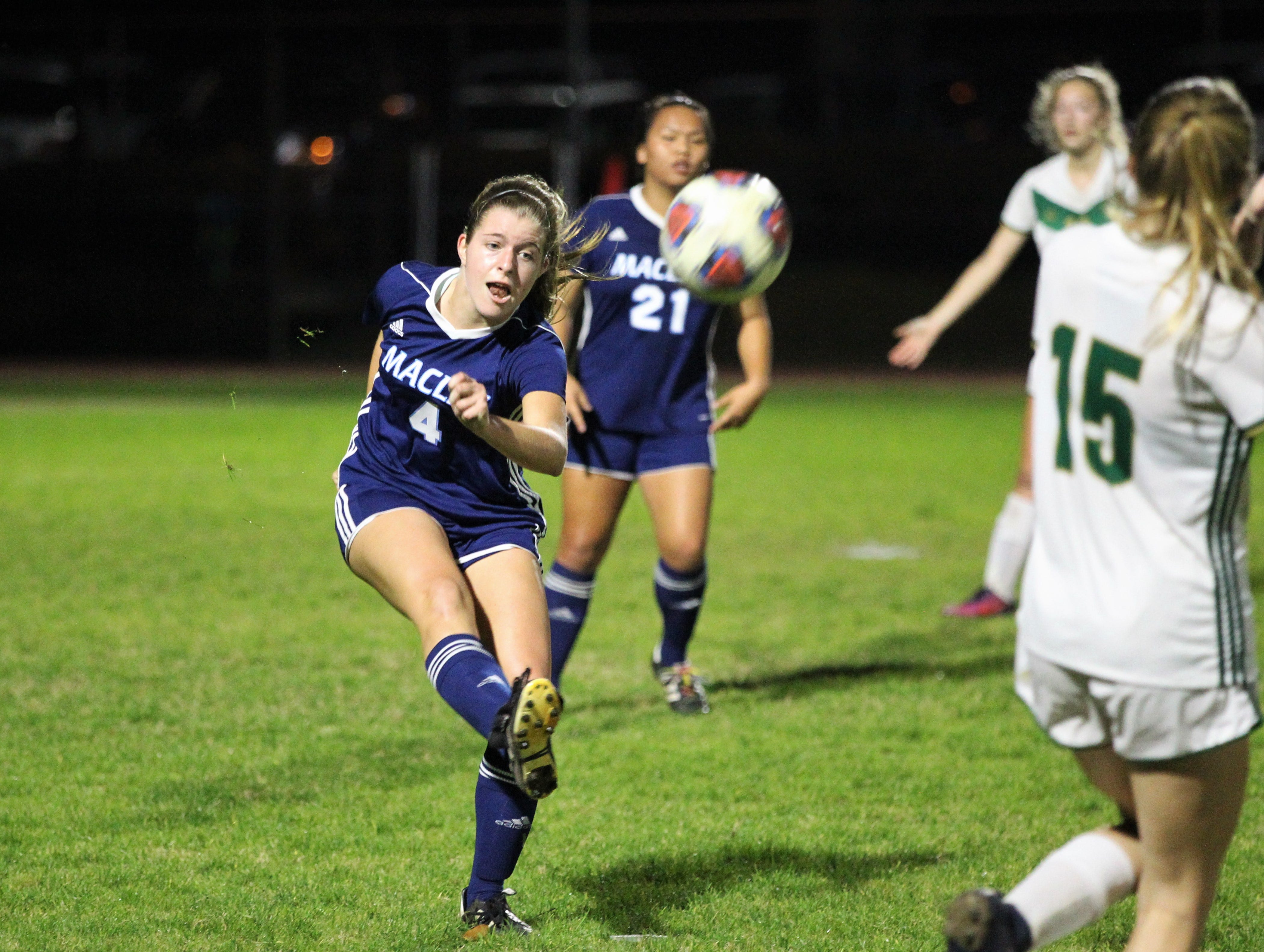 Maclay's Ramsay Grant clears a ball as Maclay's girls soccer team beat St. Joseph Academy 4-0 in a Region 1-1A quarterfinal on Jan. 5, 2019.