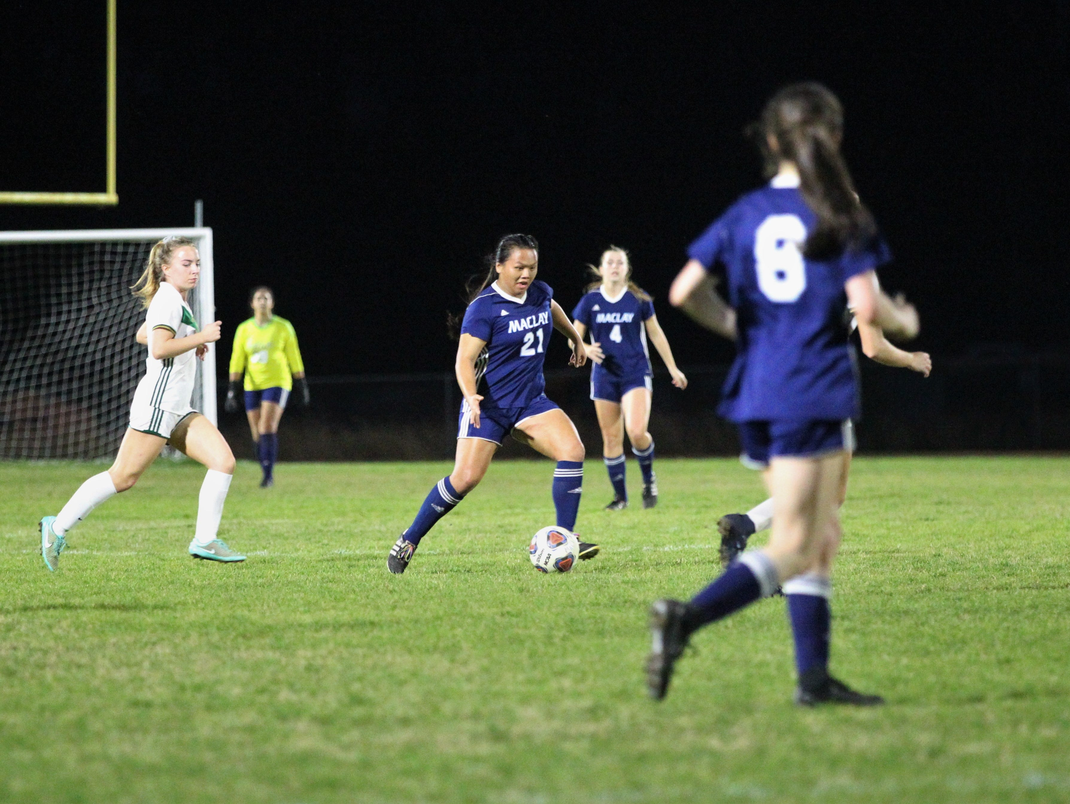 Maclay's Tayley Cotton looks for a pass as Maclay's girls soccer team beat St. Joseph Academy 4-0 in a Region 1-1A quarterfinal on Jan. 5, 2019.