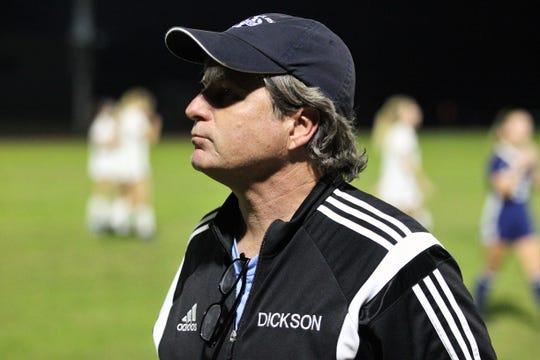 Maclay girls soccer coach Paul Dickson prepares for a halftime talk as the Marauders beat St. Joseph Academy 4-0 in a Region 1-1A quarterfinal on Jan. 5, 2019.