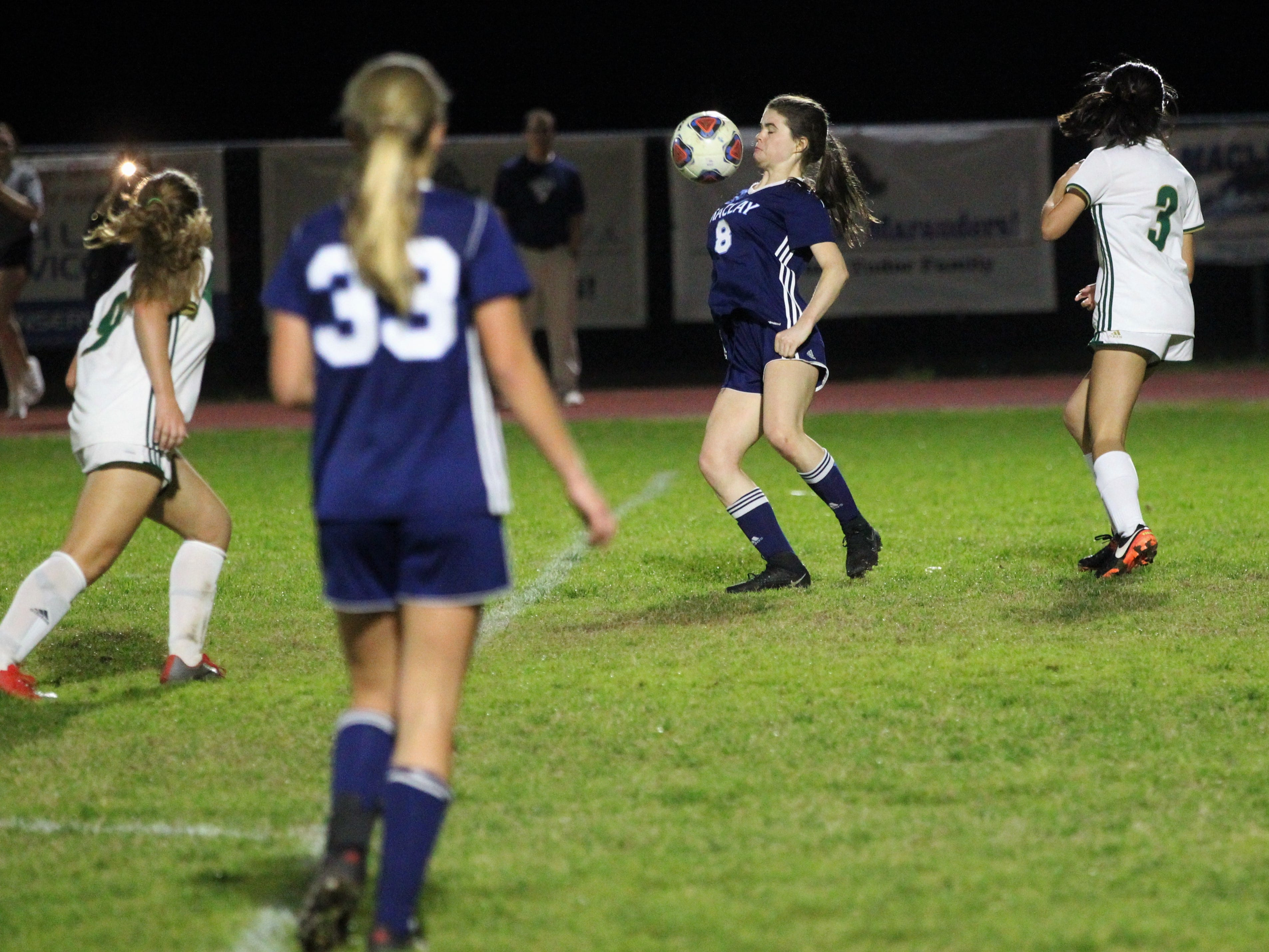 Maclay's Katie Lynch tries to bring in a pass off her chest as Maclay's girls soccer team beat St. Joseph Academy 4-0 in a Region 1-1A quarterfinal on Jan. 5, 2019.