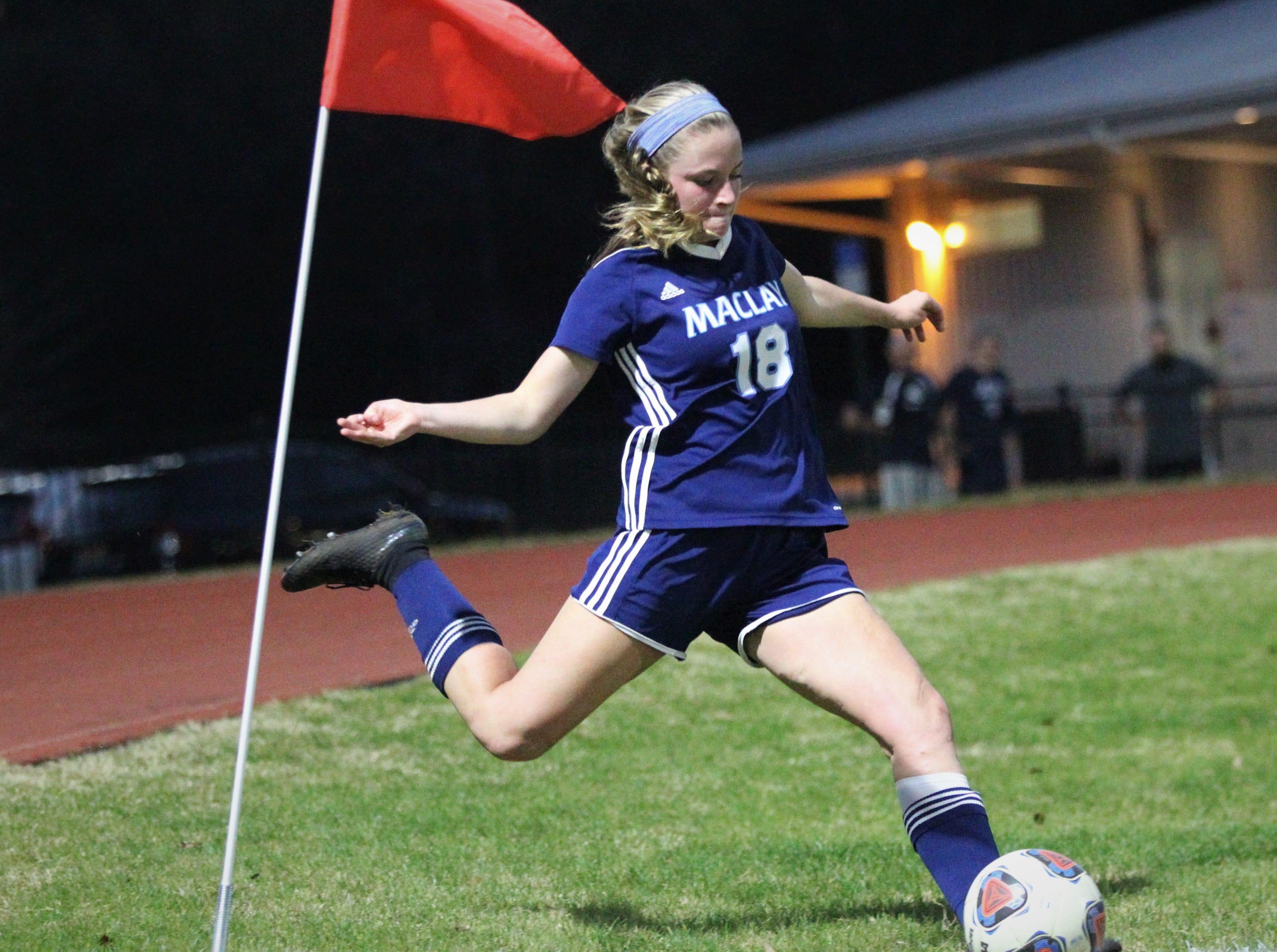 Maclay's  Avery Smith takes a corner kick as Maclay's girls soccer team beat St. Joseph Academy 4-0 in a Region 1-1A quarterfinal on Jan. 5, 2019.