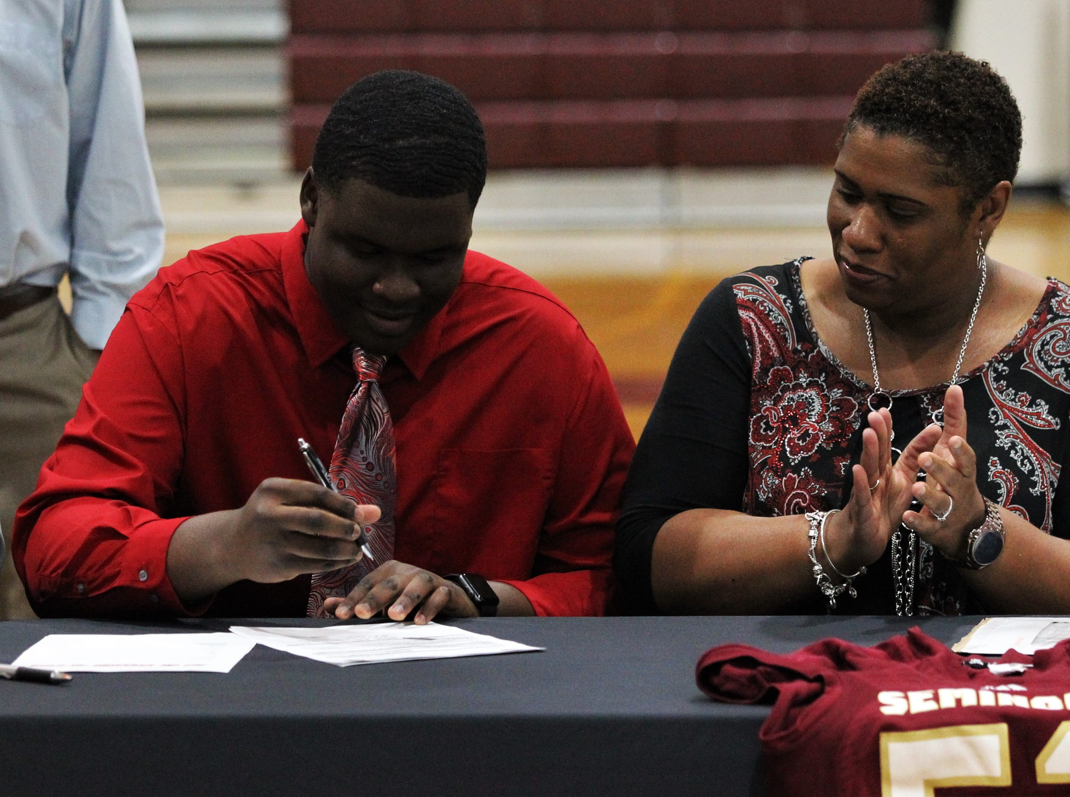 Florida High offensive lineman Anthony Belton signed with Georgia Military Institute during signing ceremonies on National Signing Day, Feb. 6, 2019.