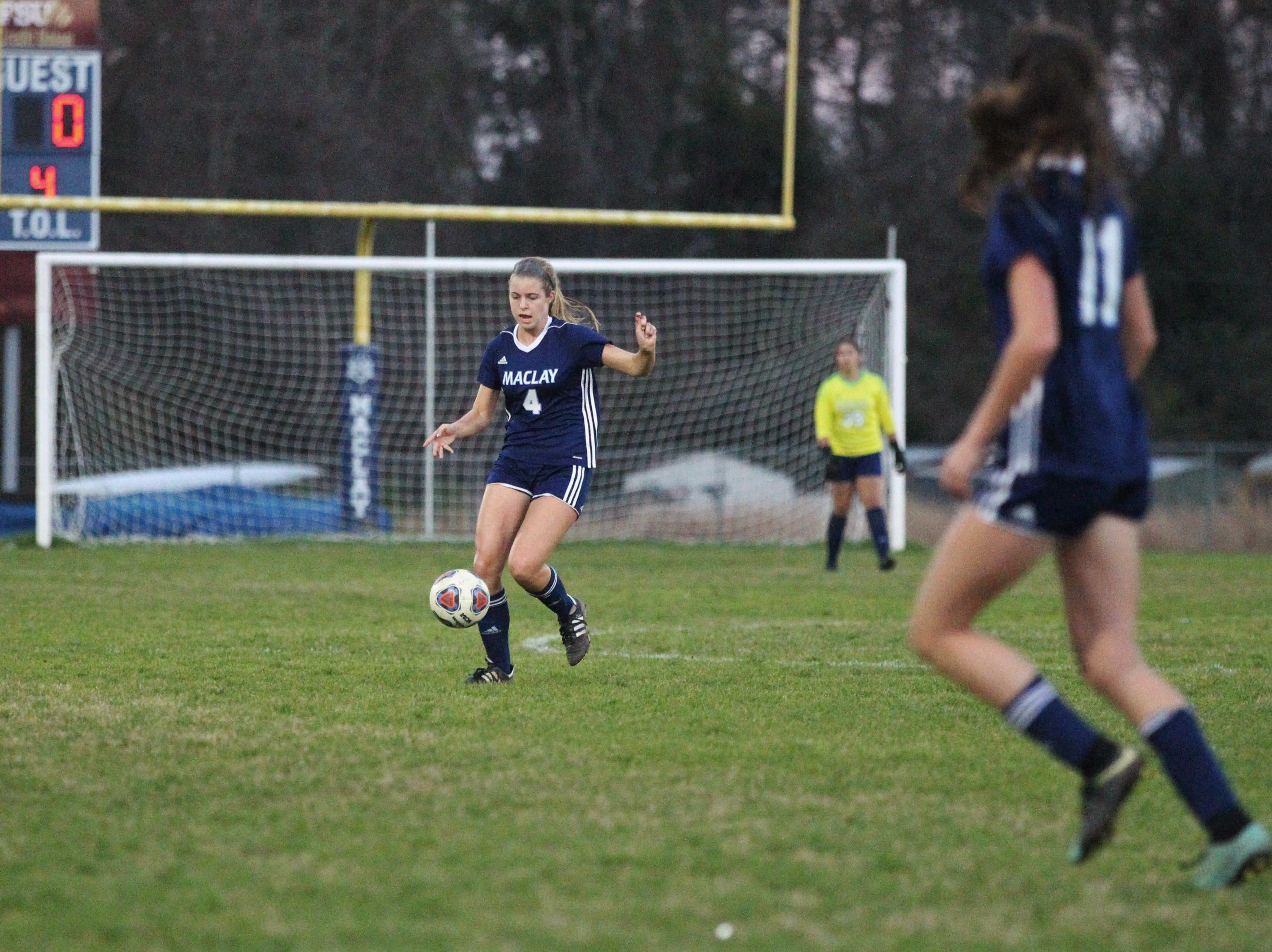 Maclay's Ramsay Grant gains possession as Maclay's girls soccer team beat St. Joseph Academy 4-0 in a Region 1-1A quarterfinal on Jan. 5, 2019.