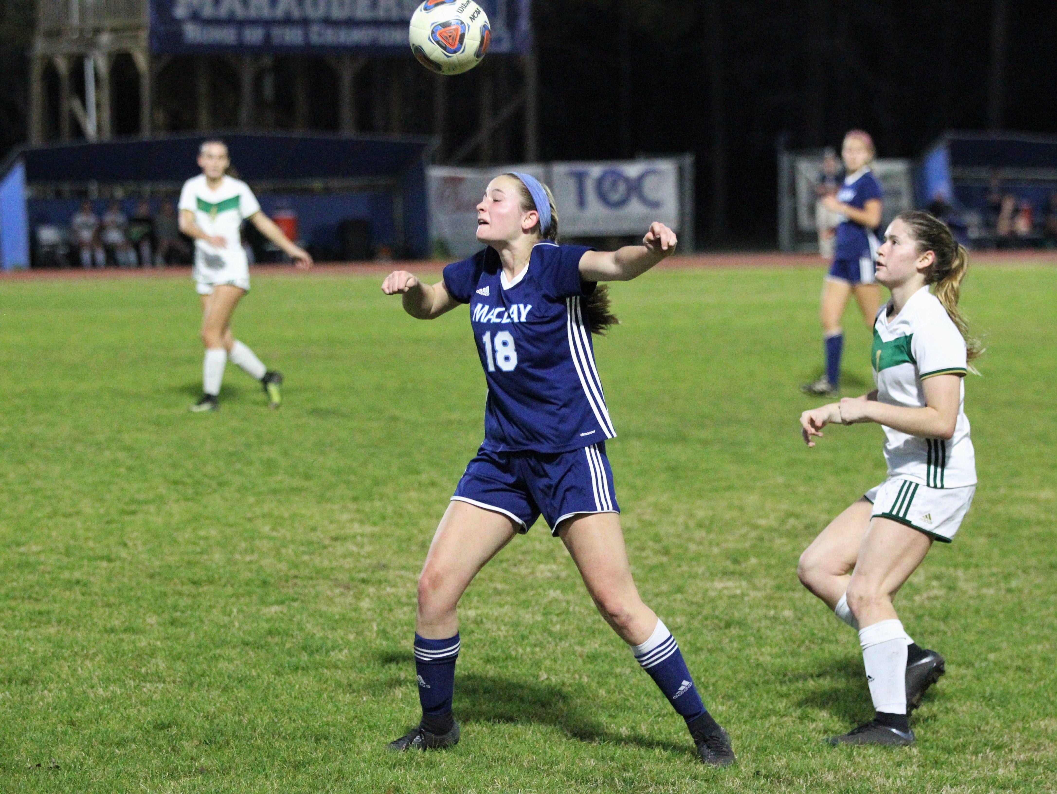 Maclay's Avery Smith waits on a header as Maclay's girls soccer team beat St. Joseph Academy 4-0 in a Region 1-1A quarterfinal on Jan. 5, 2019.
