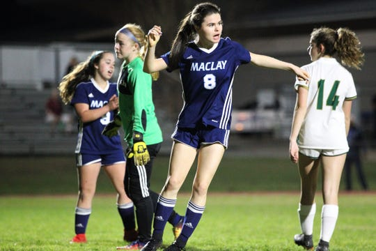 Maclay's  Katie Lynch pops up after scoring a goal as Maclay's girls soccer team beat St. Joseph Academy 4-0 in a Region 1-1A quarterfinal on Jan. 5, 2019.