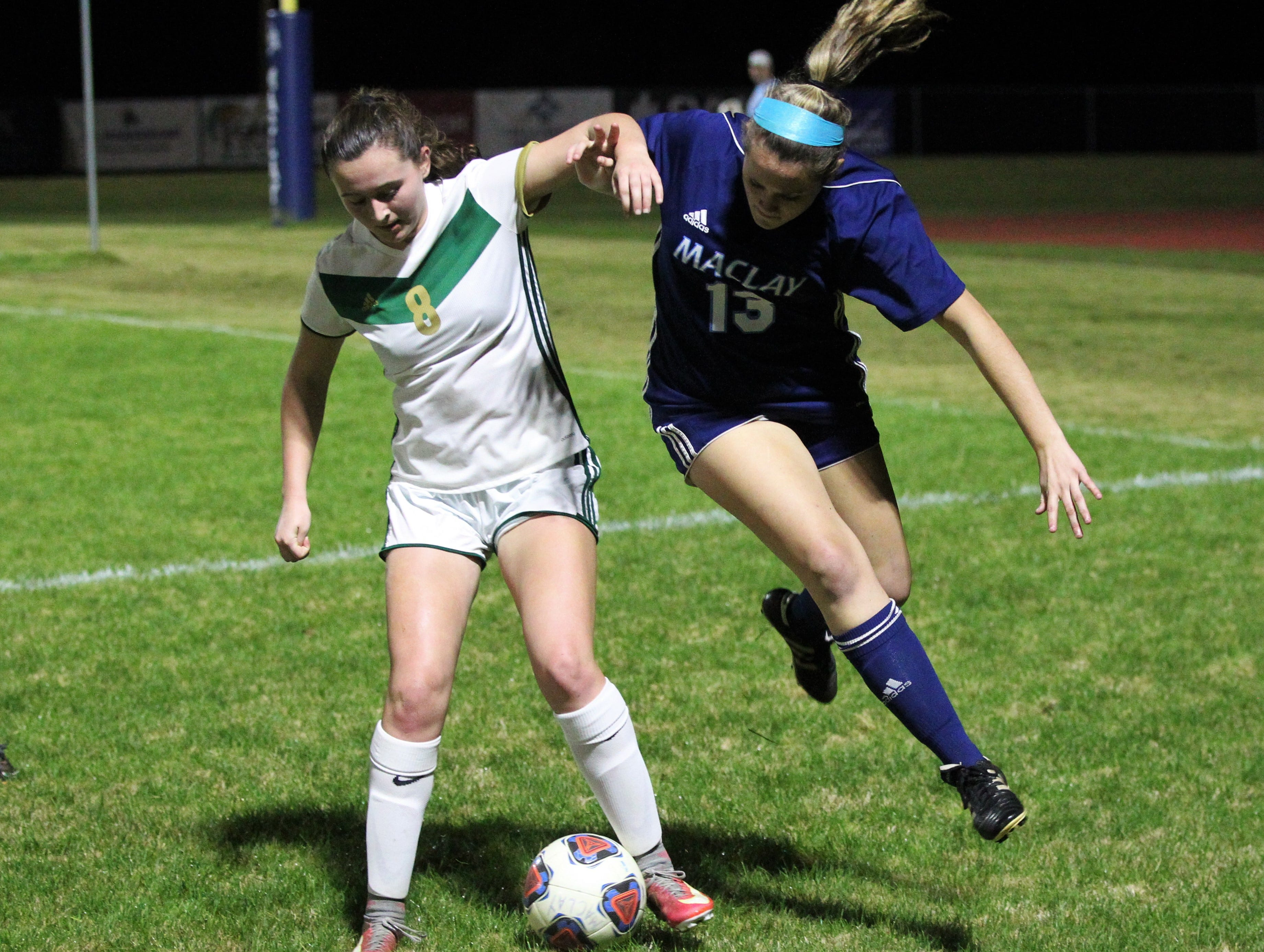 Maclay's Hailey Hobbs tries to steal a ball away from a defender as Maclay's girls soccer team beat St. Joseph Academy 4-0 in a Region 1-1A quarterfinal on Jan. 5, 2019.