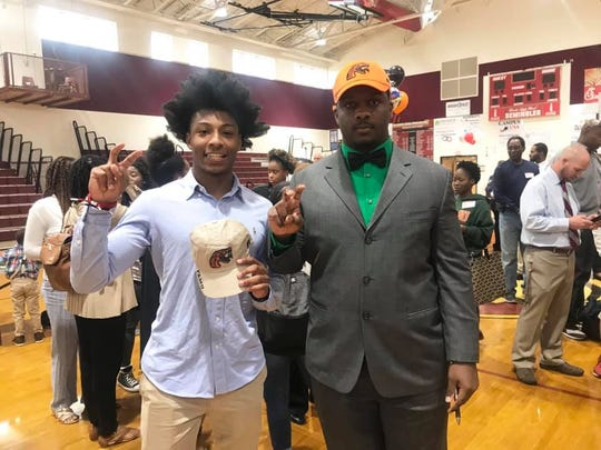 Florida High School WR/DB Javan Morgan (left) and DT Jolan Gilley inked scholarship letters on National Signing Day to play at FAMU on Wednesday, Feb. 6, 2019.