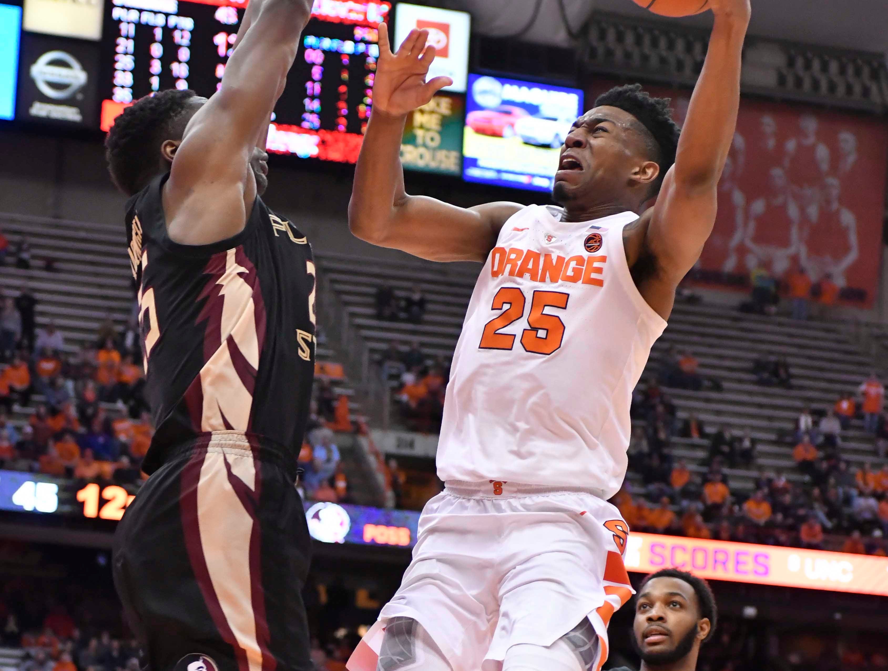 Feb 5, 2019; Syracuse, NY, USA; Syracuse Orange guard Tyus Battle (25) shoots the ball as Florida State Seminoles forward Mfiondu Kabengele applies pressure in the second half at the Carrier Dome. Mandatory Credit: Mark Konezny-USA TODAY Sports