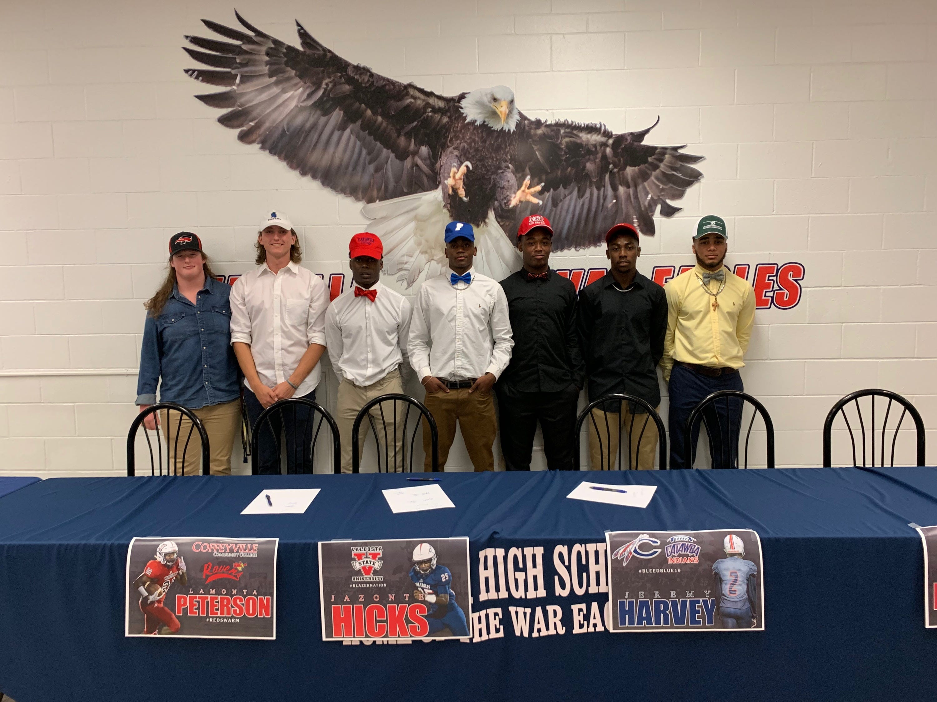 Wakulla had six football players sign during National Signing Day ceremonies on Feb. 6, 2019. Punter Hunter Busen with West Florida, Jeremy Harvey with Catawba University, receiver Malik Murray with Faulkner University, running back Lamonta Peterson with Coffeyville Community College, linebacker Jazonte Hicks with Valdosta State, defensive back Dorian Allen with Stetson.