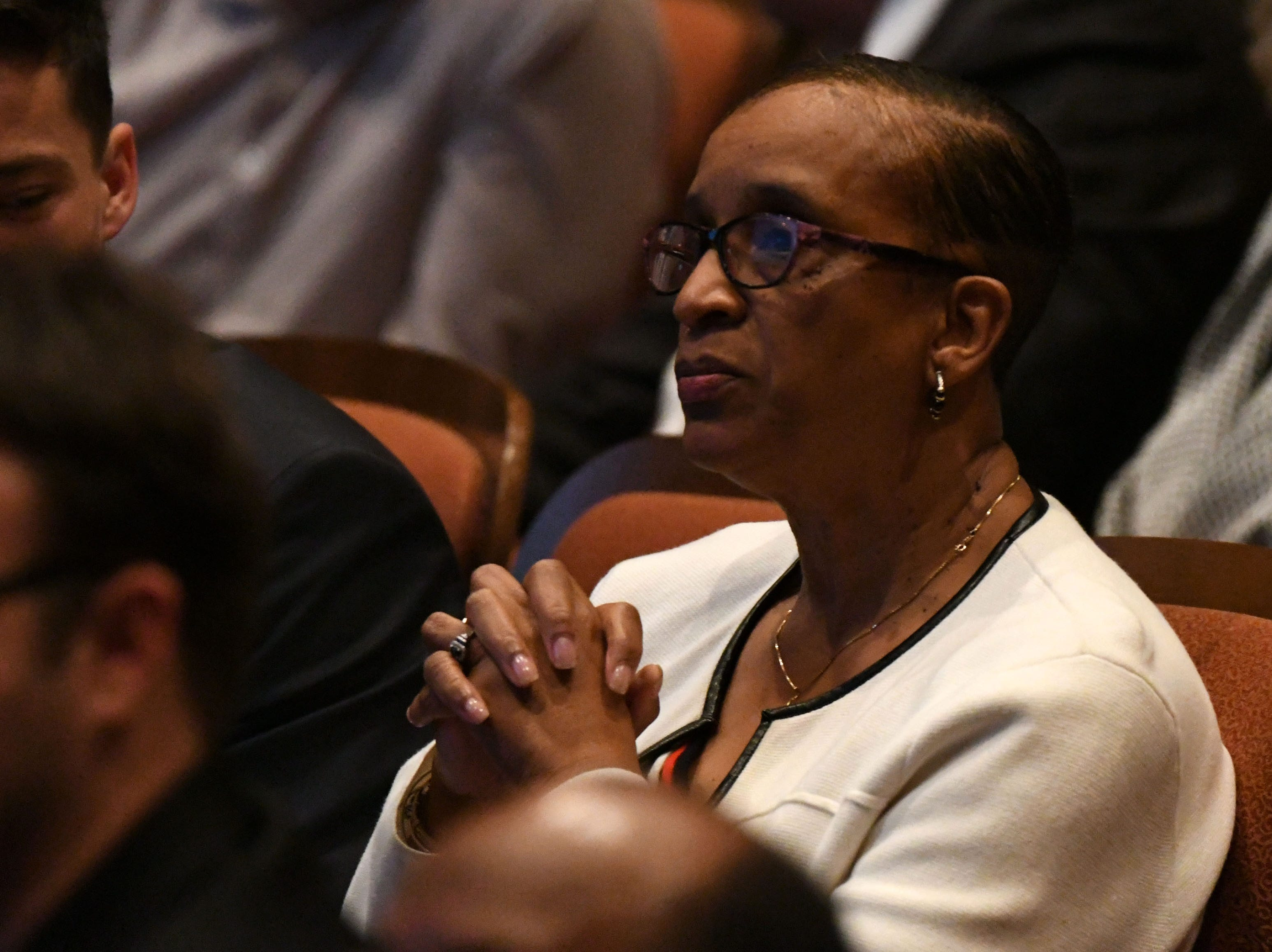 Commissioner Elaine Bryant sits in the audience of the Ruby Diamond Hall for the Power Forward business event, Wednesday Feb. 6, 2019. Shark Tank co-star and serial entrepreneur Kevin O'Leary was the featured speaker at the event.