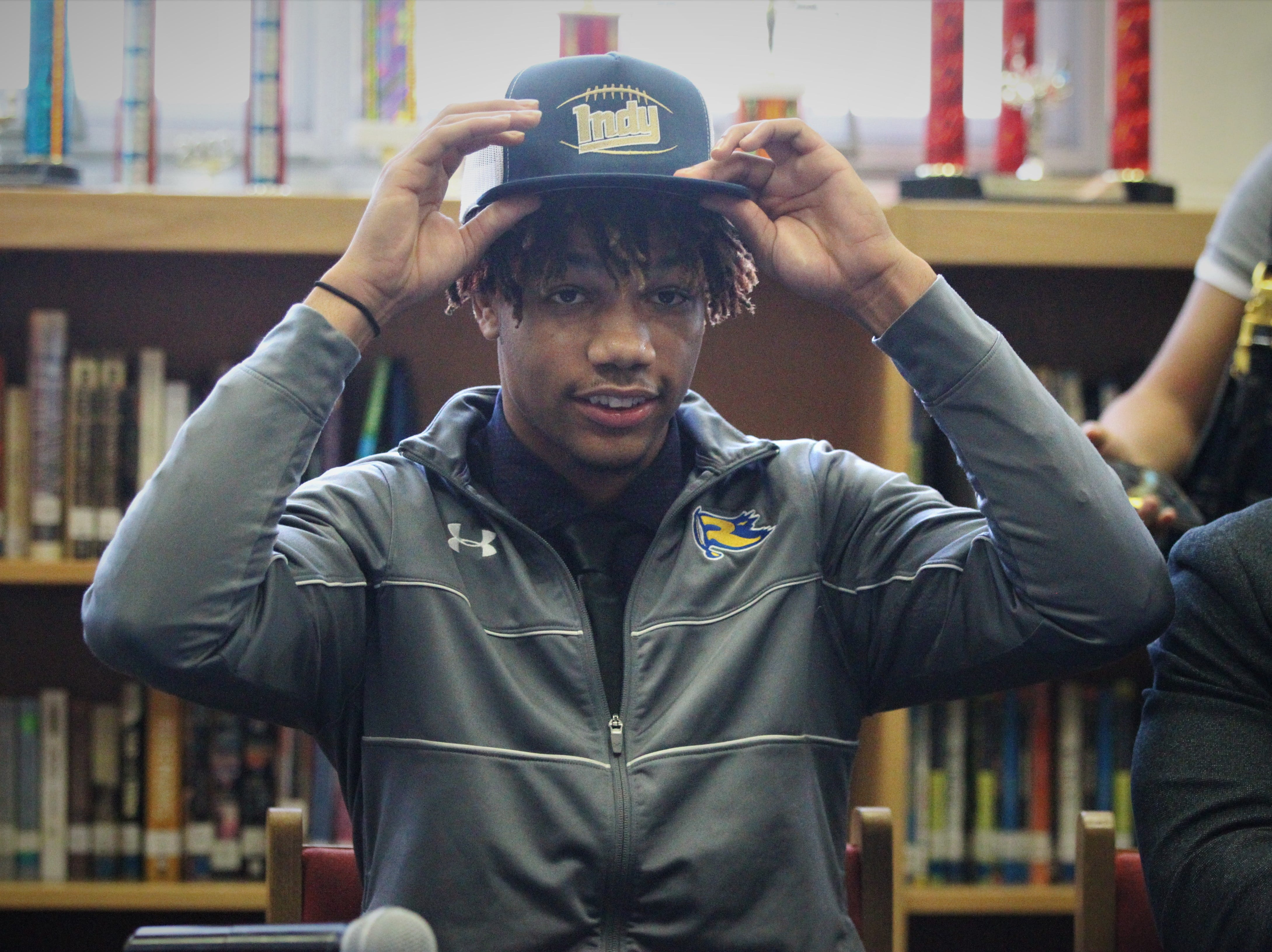 Rickards tight end Malik Miller signed with Independence Community College during signing ceremonies on National Signing Day, Feb. 6, 2019.
