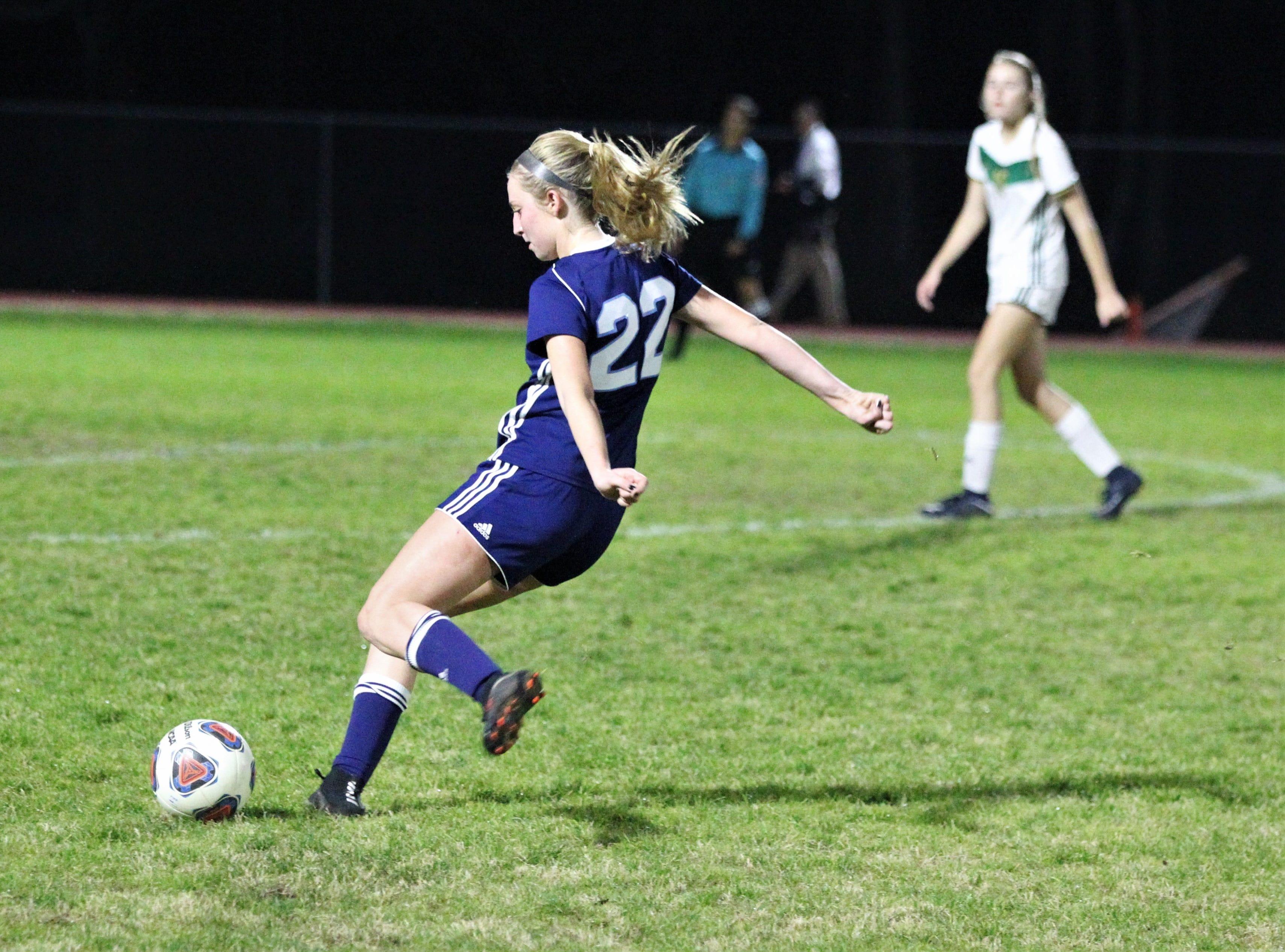Maclay's Edy Rash takes a shot as Maclay's girls soccer team beat St. Joseph Academy 4-0 in a Region 1-1A quarterfinal on Jan. 5, 2019.