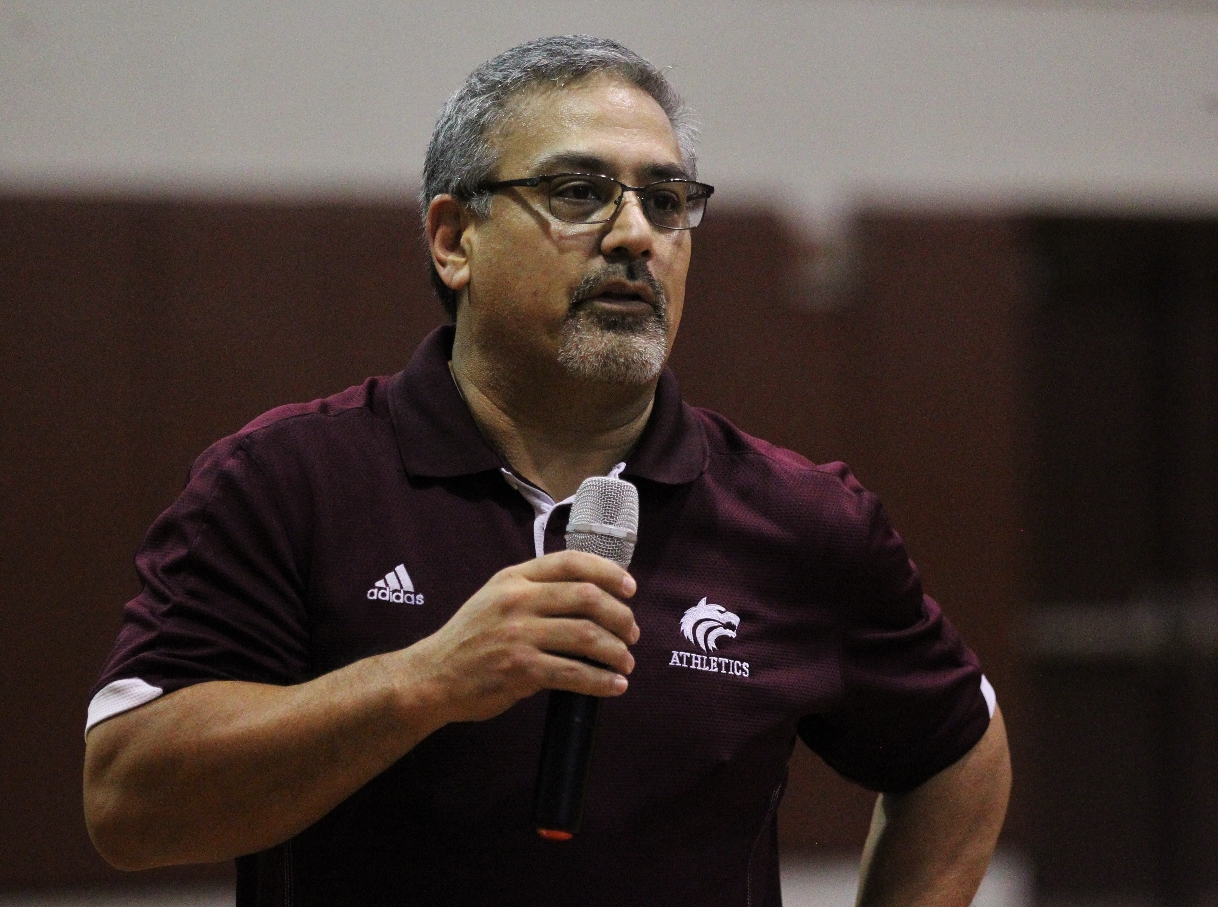 Chiles athletic director Mike Eto talks to a crowd during National Signing Day ceremonies on Feb. 6, 2019.