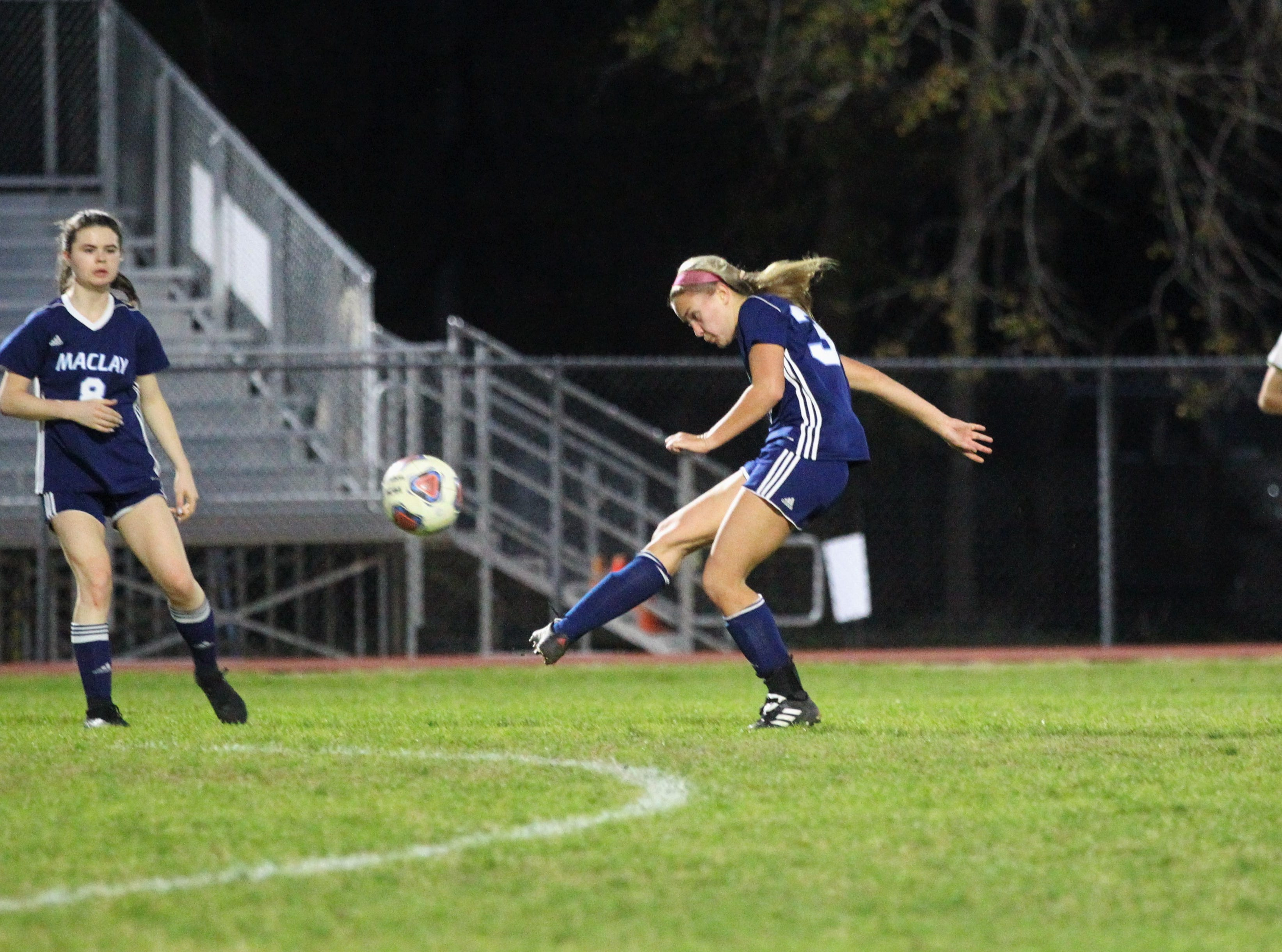 Maclay's Colleen Donahue sends a pass upfield as Maclay's girls soccer team beat St. Joseph Academy 4-0 in a Region 1-1A quarterfinal on Jan. 5, 2019.