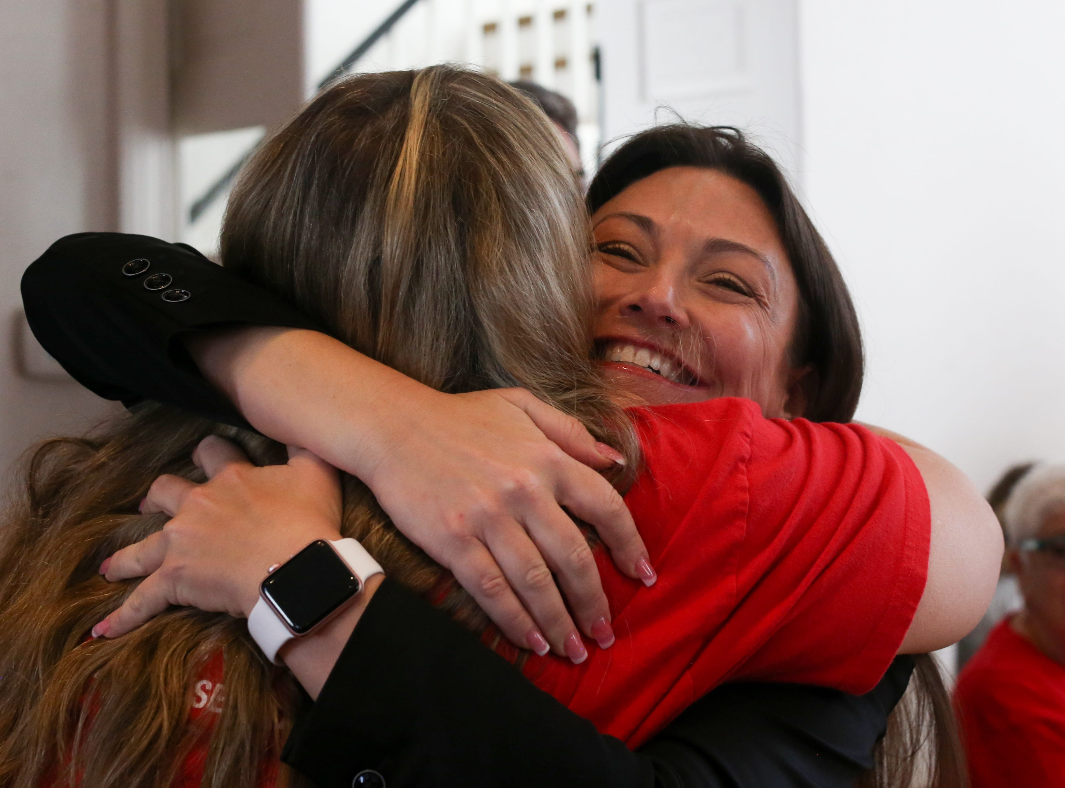 Agriculture Commissioner Nikki Fried hugs very excited Tracy Merlin, a Broward County teacher, as Fried enters First Presbyterian Church where Merlin and over 500 other members of Moms Demand Action gathered before descending on the Capitol to meet with lawmakers to lobby for stricter gun laws in Florida.