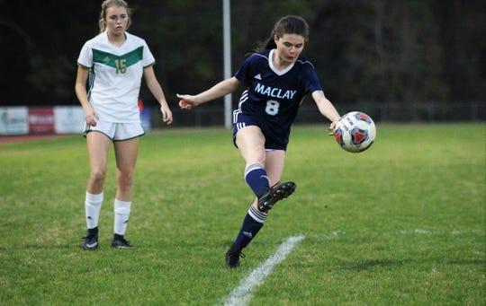 Maclay's Katie Lynch fires a shot as Maclay's girls soccer team beat St. Joseph Academy 4-0 in a Region 1-1A quarterfinal on Jan. 5, 2019.