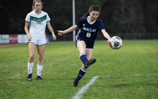 Maclay's Katie Lynch fires a shot as Maclay's girls soccer team beat St. Joseph Academy 4-0 in a Region 1-1A quarterfinal on Jan. 5, 2019.