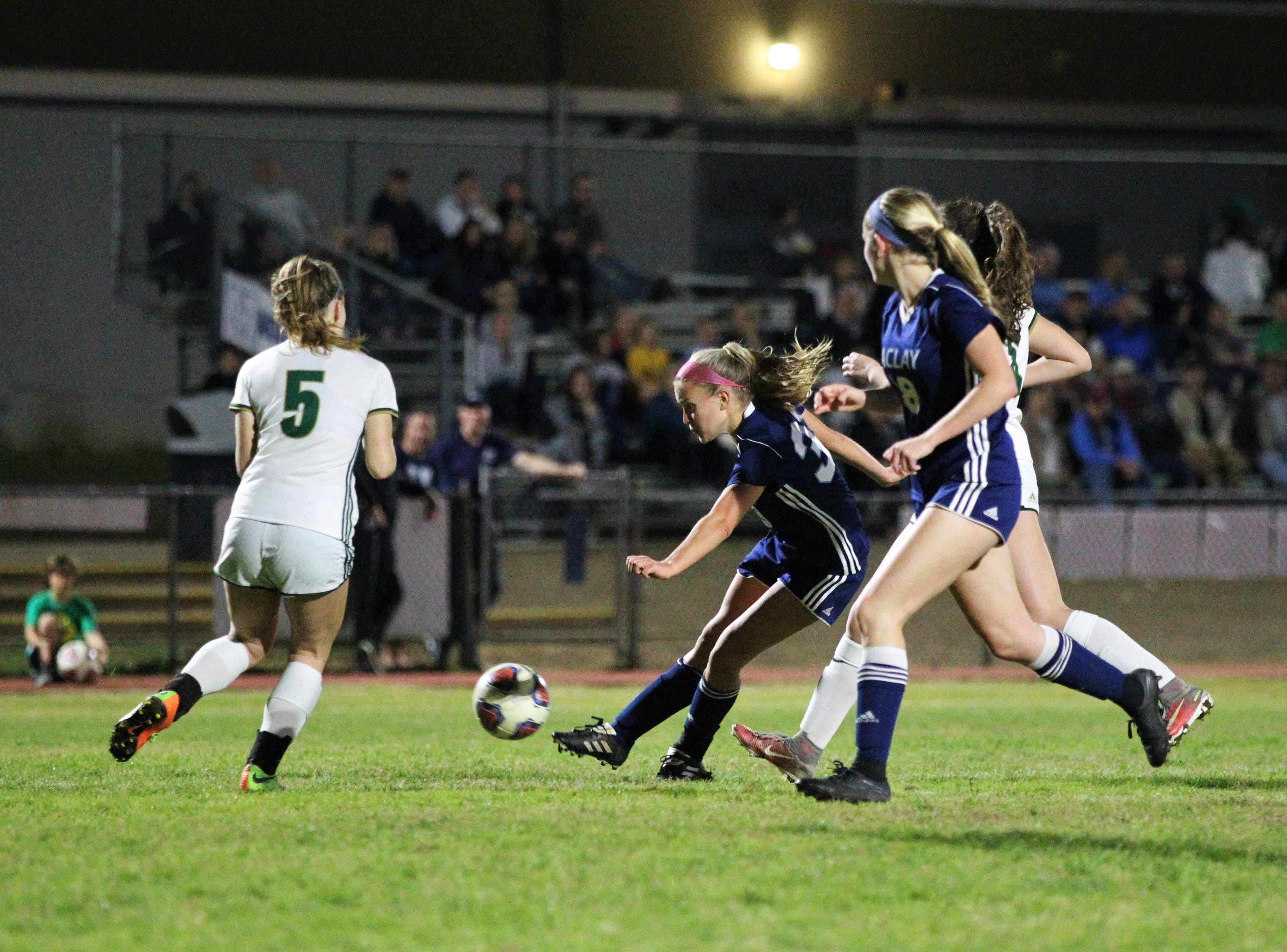 Maclay's Colleen Donahue takes a shot on goal as Maclay's girls soccer team beat St. Joseph Academy 4-0 in a Region 1-1A quarterfinal on Jan. 5, 2019.