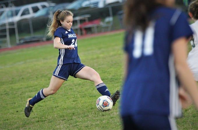 Maclay's Lauren Dessi sends a pass upfield as Maclay's girls soccer team beat St. Joseph Academy 4-0 in a Region 1-1A quarterfinal on Jan. 5, 2019.