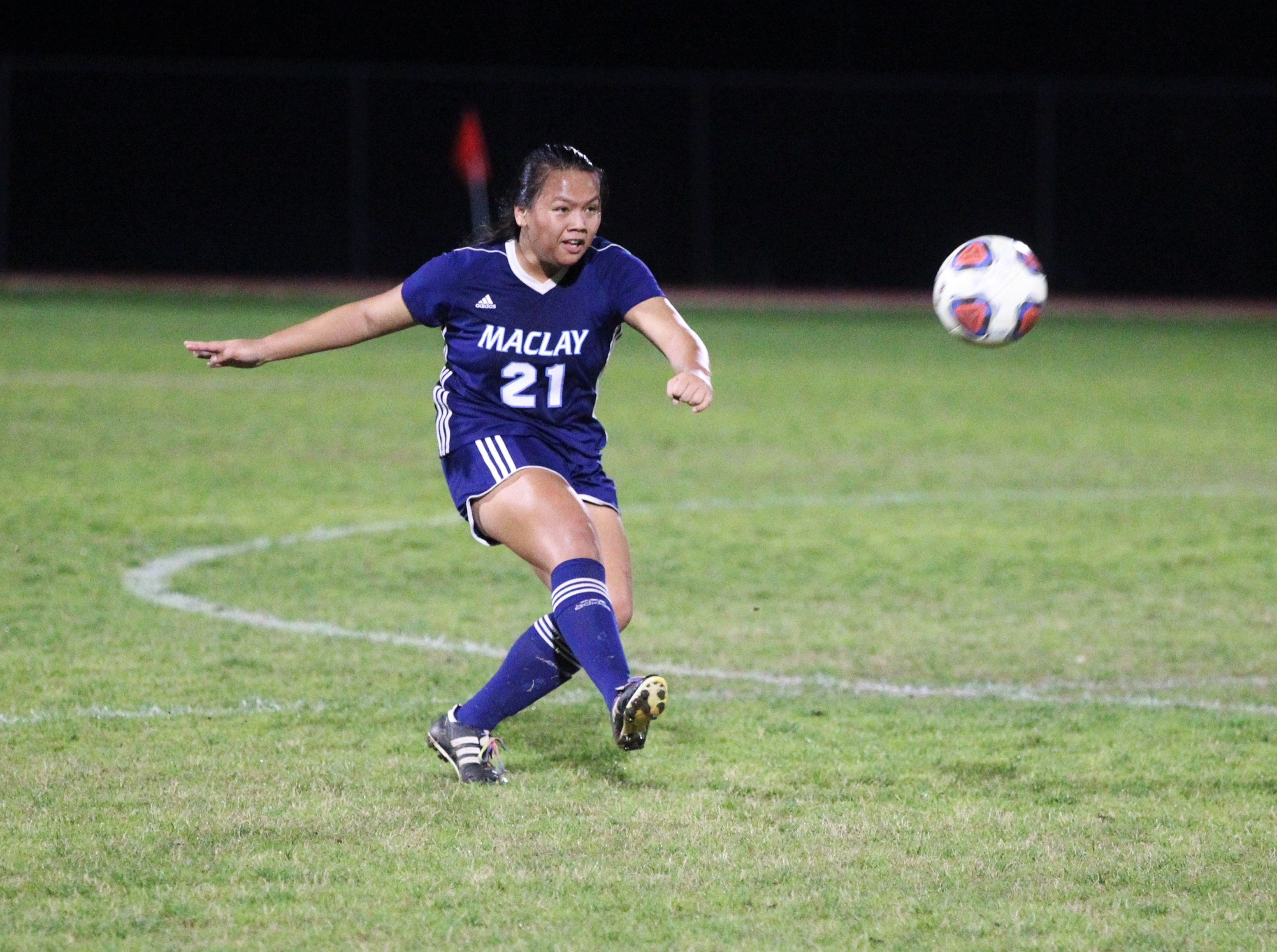 Maclay's Tayley Cotton takes a free kick as Maclay's girls soccer team beat St. Joseph Academy 4-0 in a Region 1-1A quarterfinal on Jan. 5, 2019.