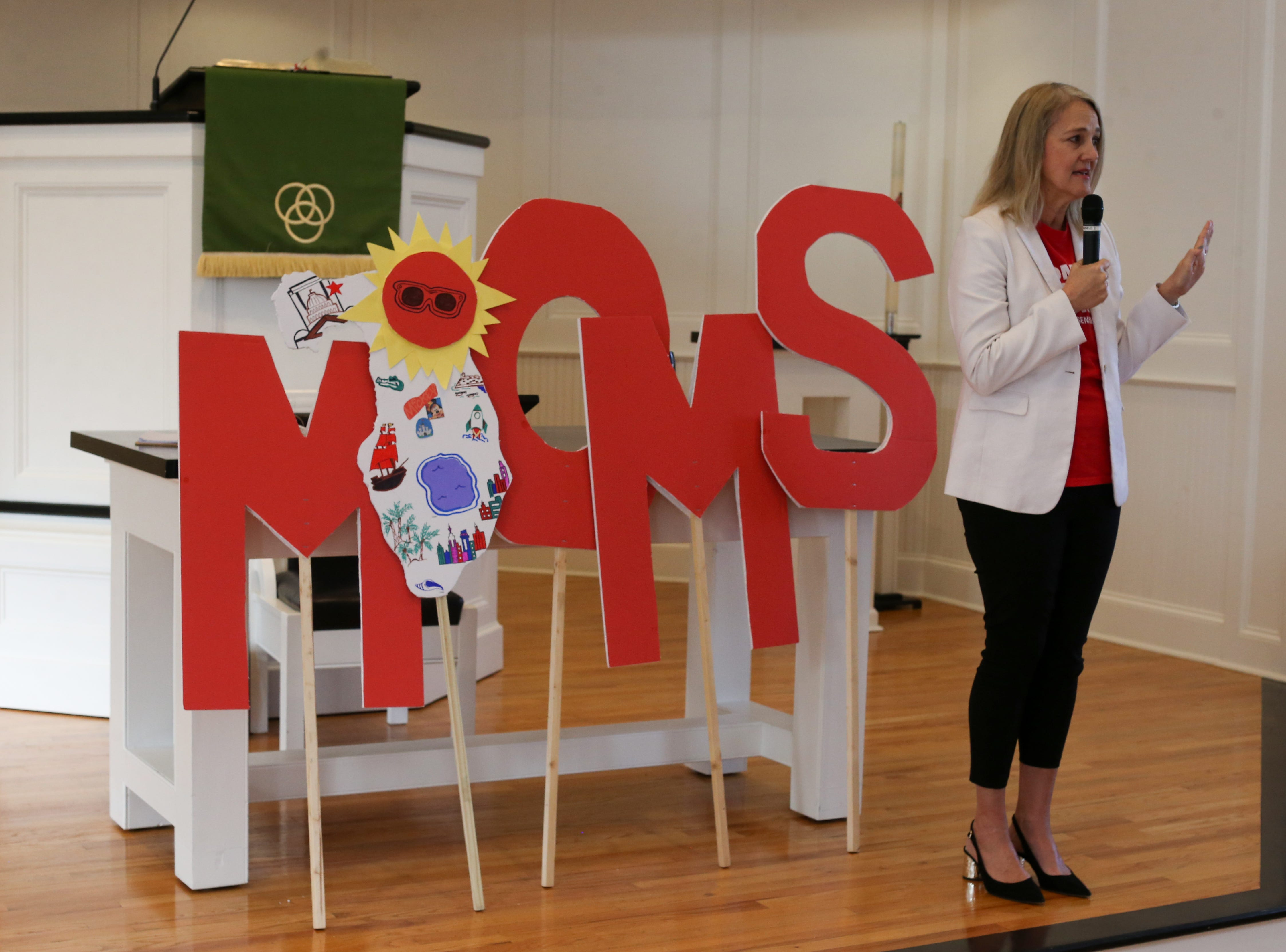 Debbie Weir, a member of Every Town for Gun Safety and Moms Demand Action, addresses over 500 members of Moms Demand Action in First Presbyterian Church in Tallahassee before they departed to the Capitol to meet with lawmakers to lobby for stricter gun laws Wednesday, Feb. 6, 2019.