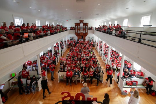 Over 500 activists from Moms Demand Action convened inside First Presbyterian Church in Tallahassee Wednesday, Feb. 6, 2019 before visiting law makers at the Capitol to lobby for stricter gun laws in Florida.