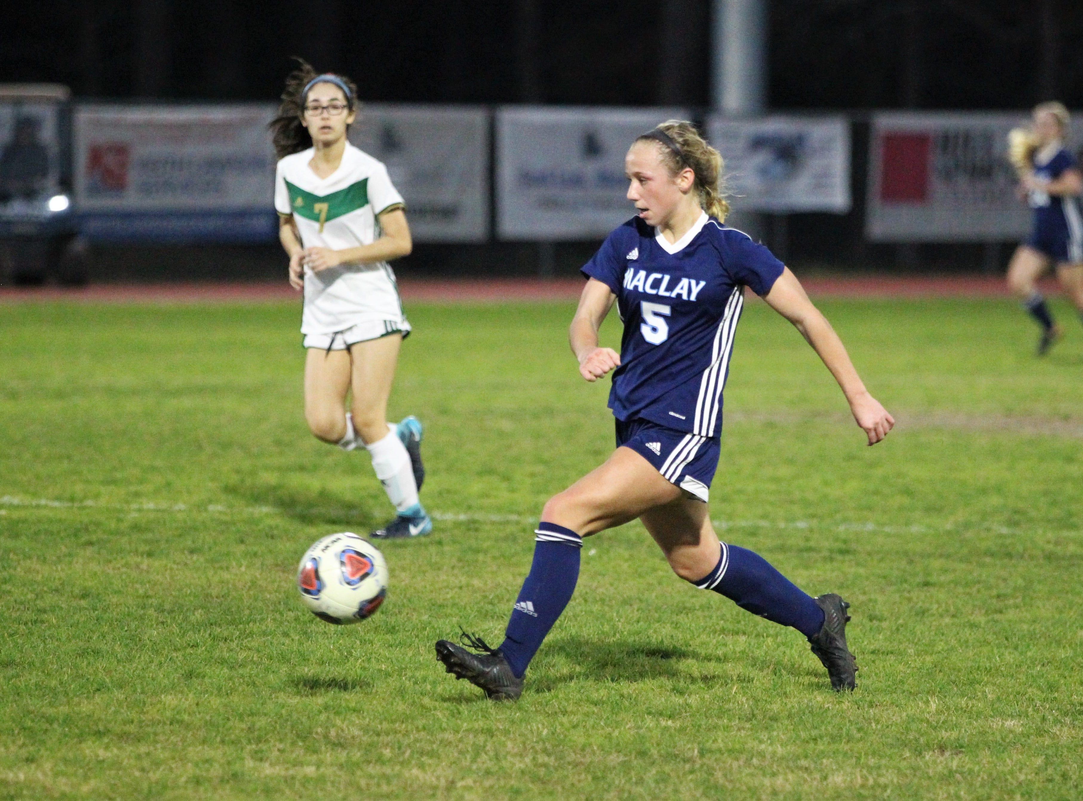 Maclay's Katelyn Dessi dribbles through the midfield as Maclay's girls soccer team beat St. Joseph Academy 4-0 in a Region 1-1A quarterfinal on Jan. 5, 2019.