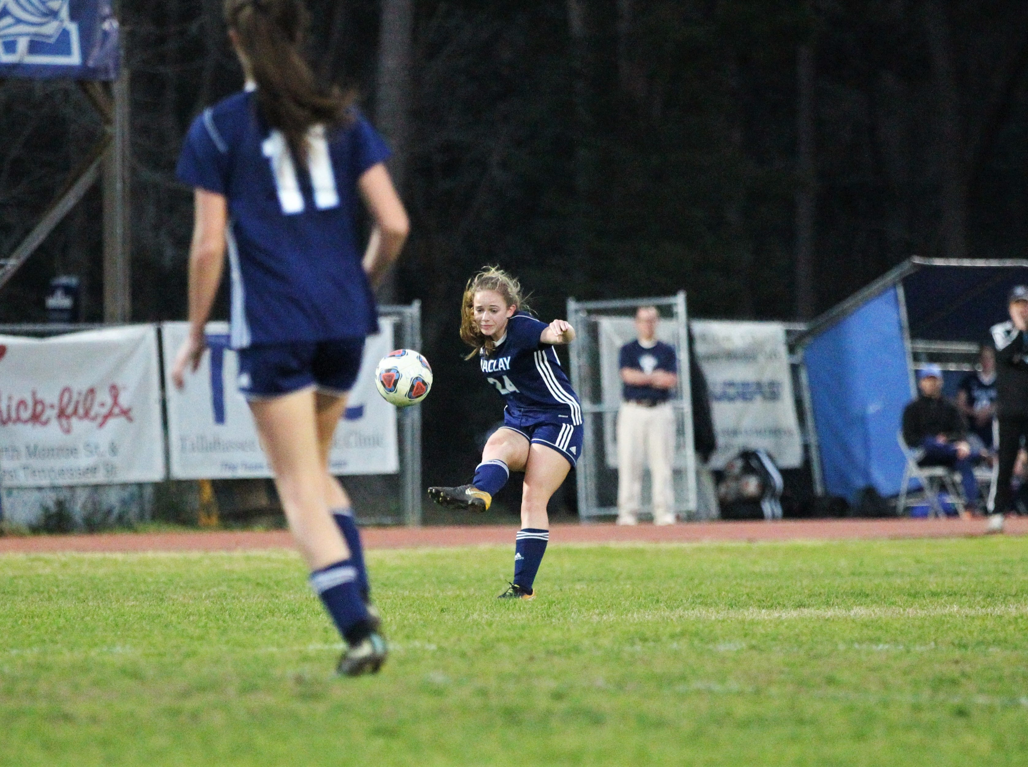 Maclay's Lauren Dessi passes upfield as Maclay's girls soccer team beat St. Joseph Academy 4-0 in a Region 1-1A quarterfinal on Jan. 5, 2019.