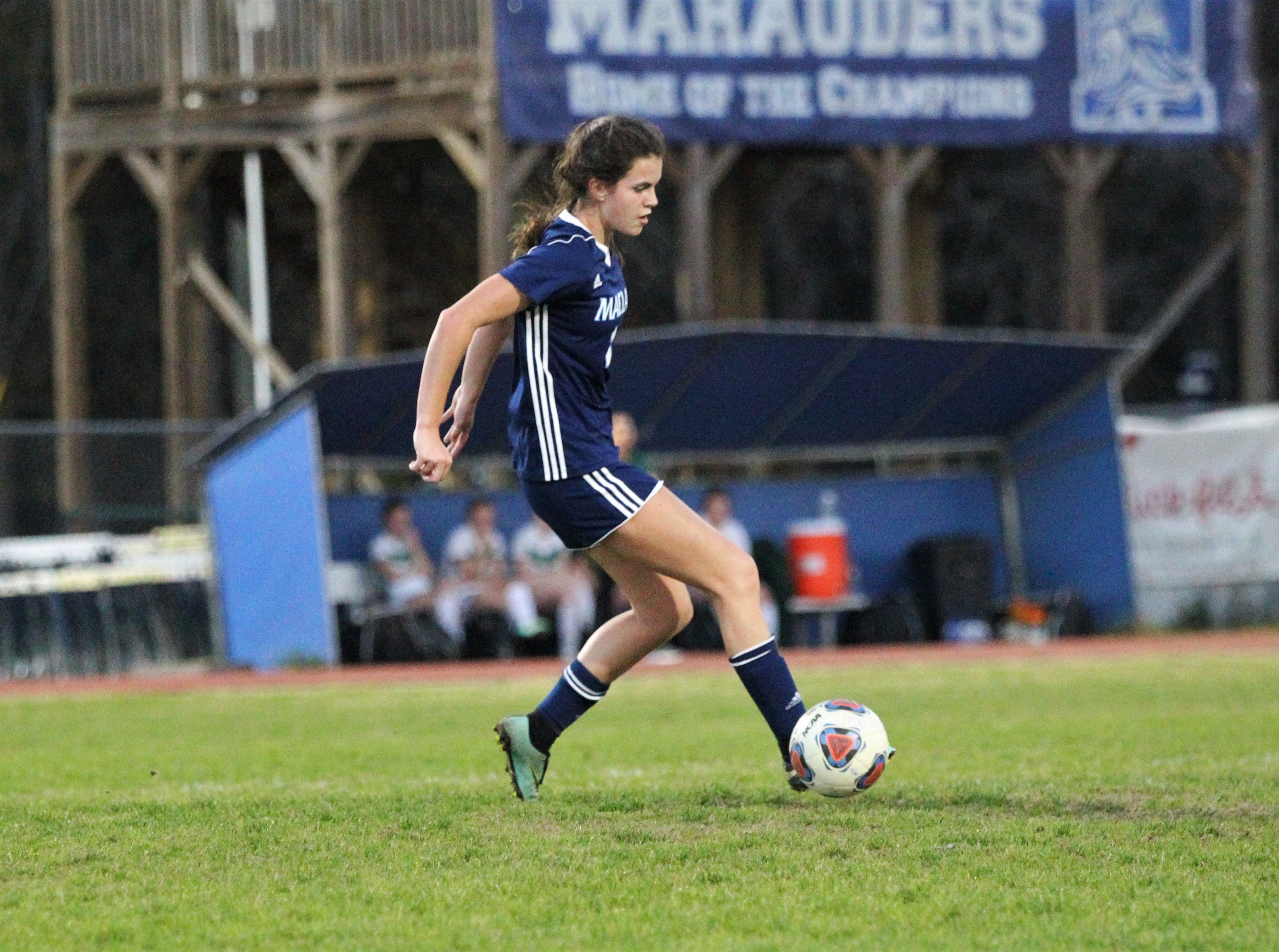Maclay's Madison Perkins gains possession in the midfield as Maclay's girls soccer team beat St. Joseph Academy 4-0 in a Region 1-1A quarterfinal on Jan. 5, 2019.