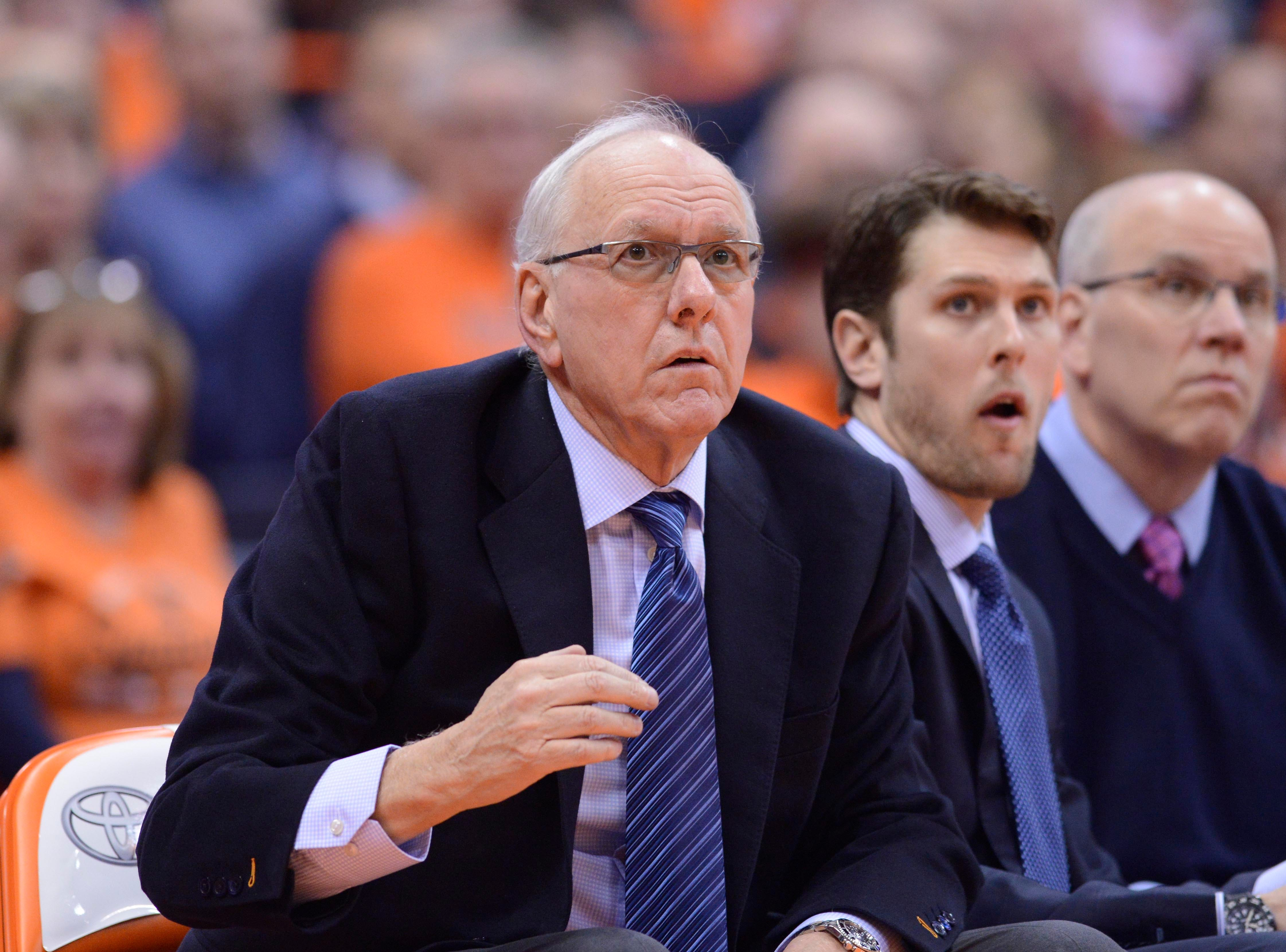 Feb 5, 2019; Syracuse, NY, USA; Syracuse Orange head coach Jim Boeheim watches from the sidelines in the second half against the Florida State Seminoles at the Carrier Dome. Mandatory Credit: Mark Konezny-USA TODAY Sports