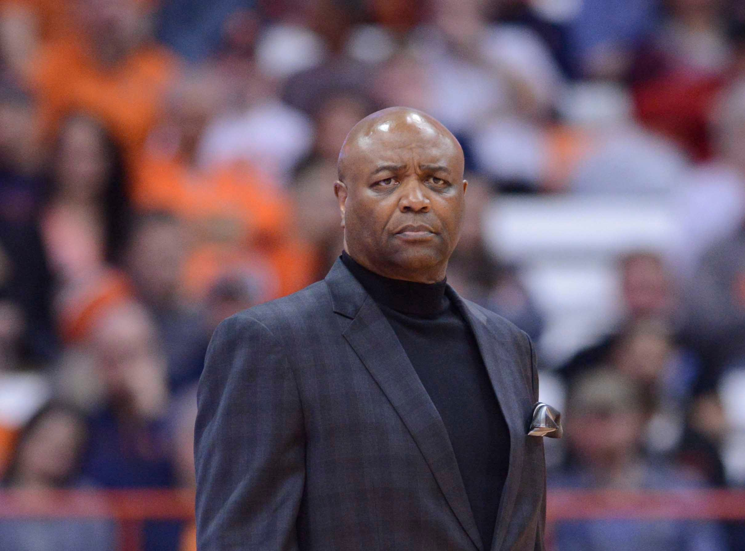 Feb 5, 2019; Syracuse, NY, USA; Florida State Seminoles head coach Leonard Hamilton watches the play on the court in the first half against the Syracuse Orange at the Carrier Dome. Mandatory Credit: Mark Konezny-USA TODAY Sports