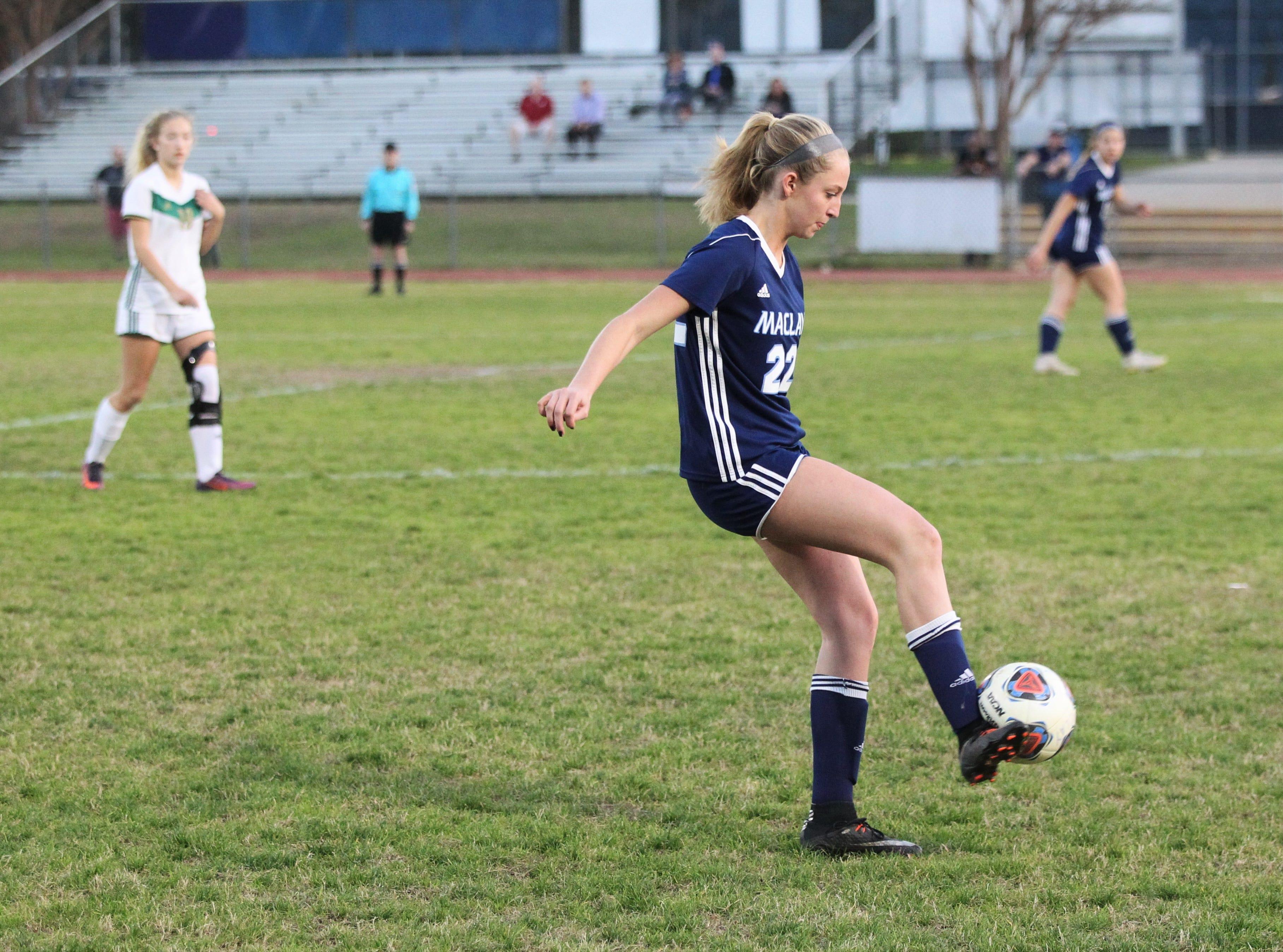 Maclay's Edy Rash passes a ball ahead as Maclay's girls soccer team beat St. Joseph Academy 4-0 in a Region 1-1A quarterfinal on Jan. 5, 2019.