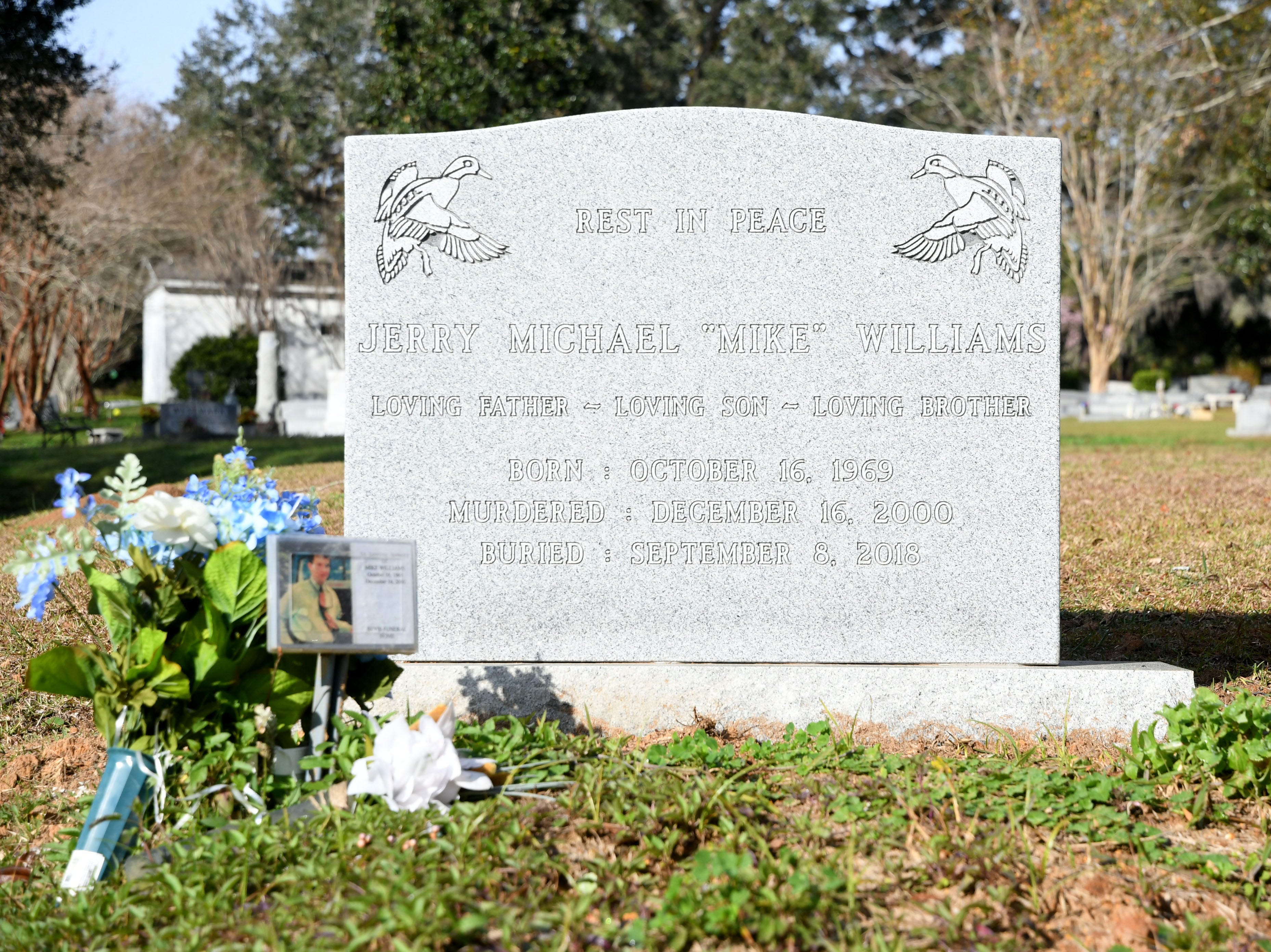 The tombstone at the grave of Mike Williams, the man who was murdered over 18 years ago by his wife and best friend. Denise Williams, Mike's wife, was sentenced to life in prison plus 30 years, Wednesday Feb. 6, 2019.