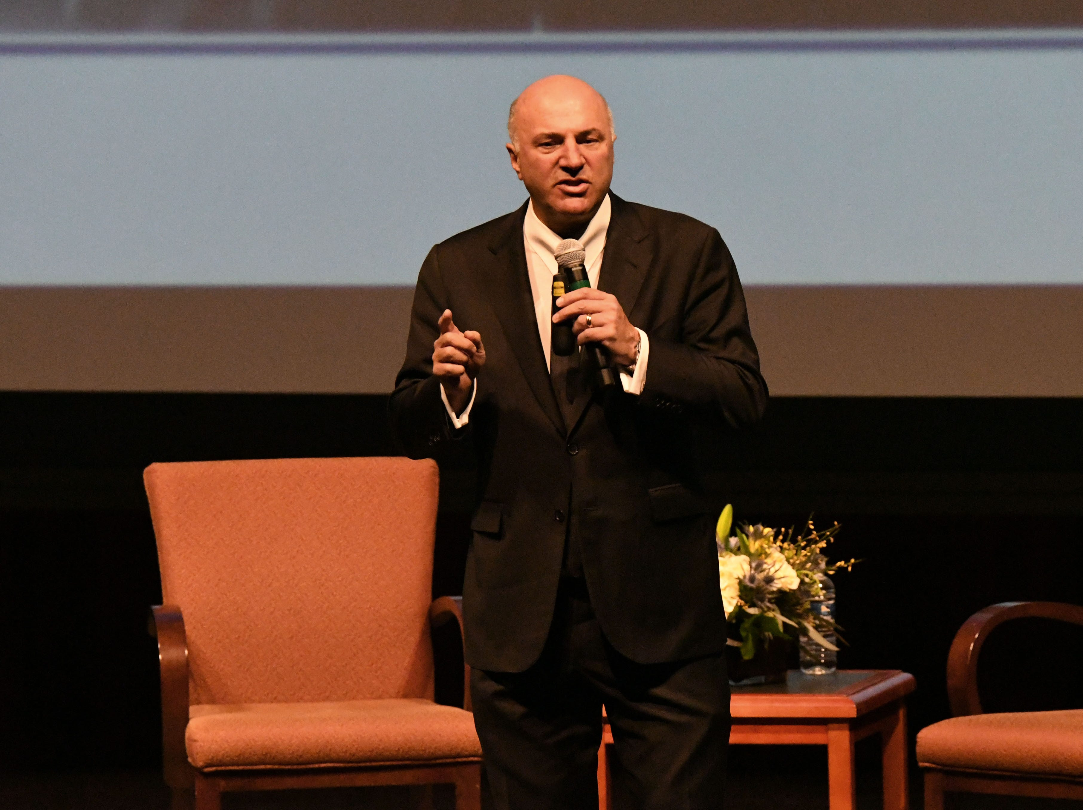 Shark Tank co-star and serial entrepreneur Kevin O'Leary talks to a crowd of more than a thousand people about entrepreneurship at the Power Forward business event in the Ruby Diamond Hall, Wednesday Feb. 6, 2019.