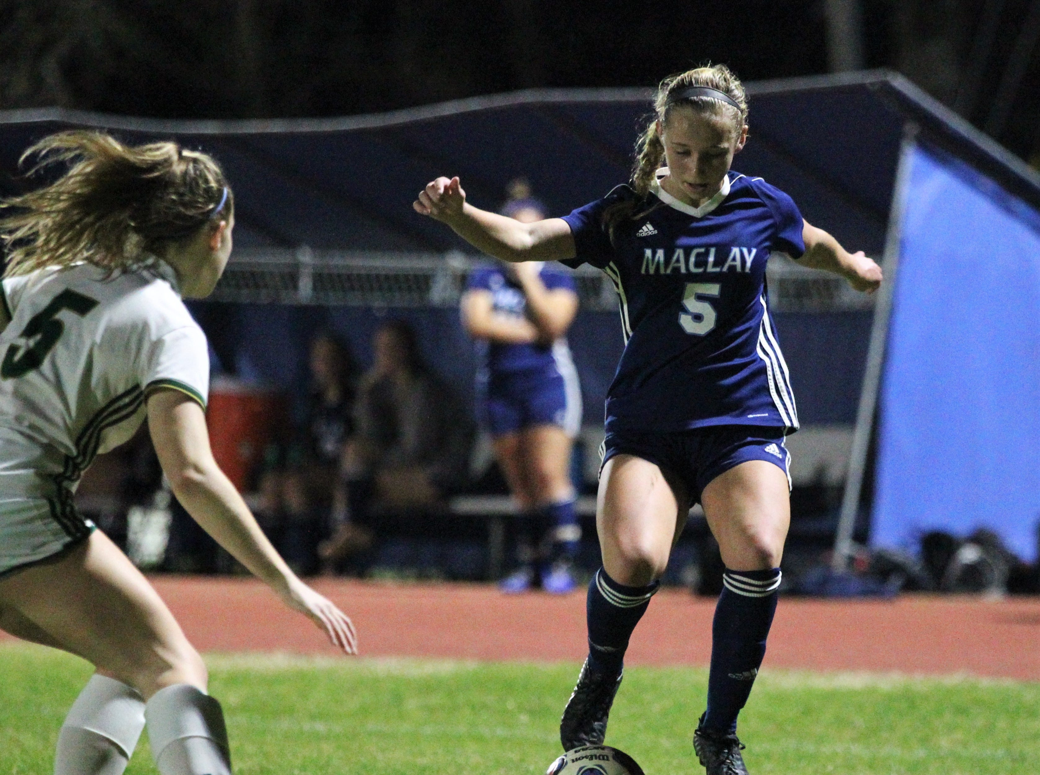 Maclay's Katelyn Dessi stops a ball on her dribble as Maclay's girls soccer team beat St. Joseph Academy 4-0 in a Region 1-1A quarterfinal on Jan. 5, 2019.