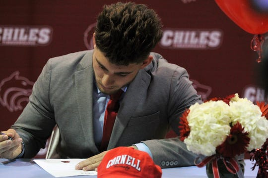 Chiles' Cameron Richardson signed with Cornell during National Signing Day ceremonies on Feb. 6, 2019.