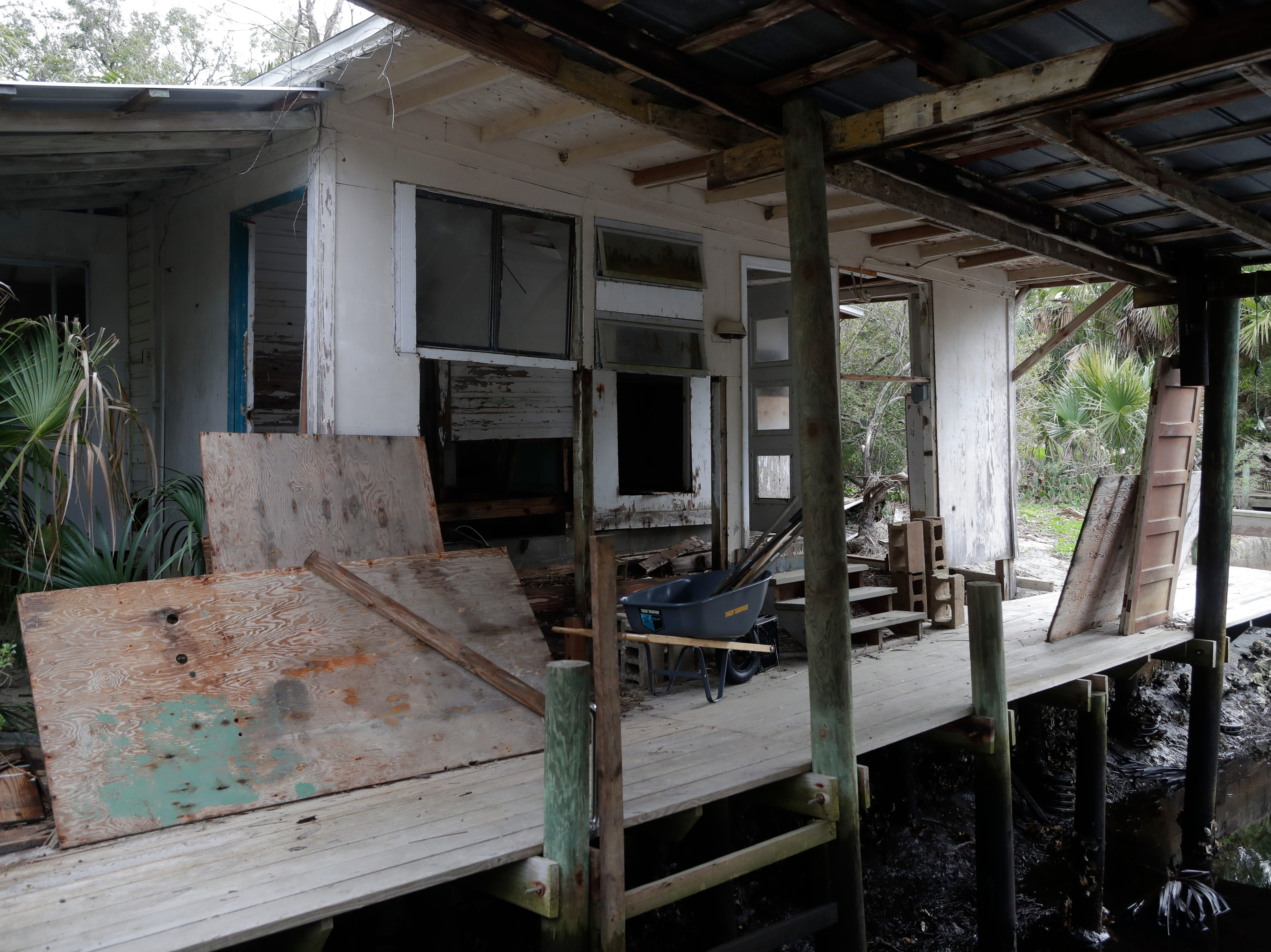 The boathouse at Spring Creek was left in shambles after Hurricane Michael hit the panhandle. The boathouse remains torn apart Tuesday, Feb. 5, 2019.