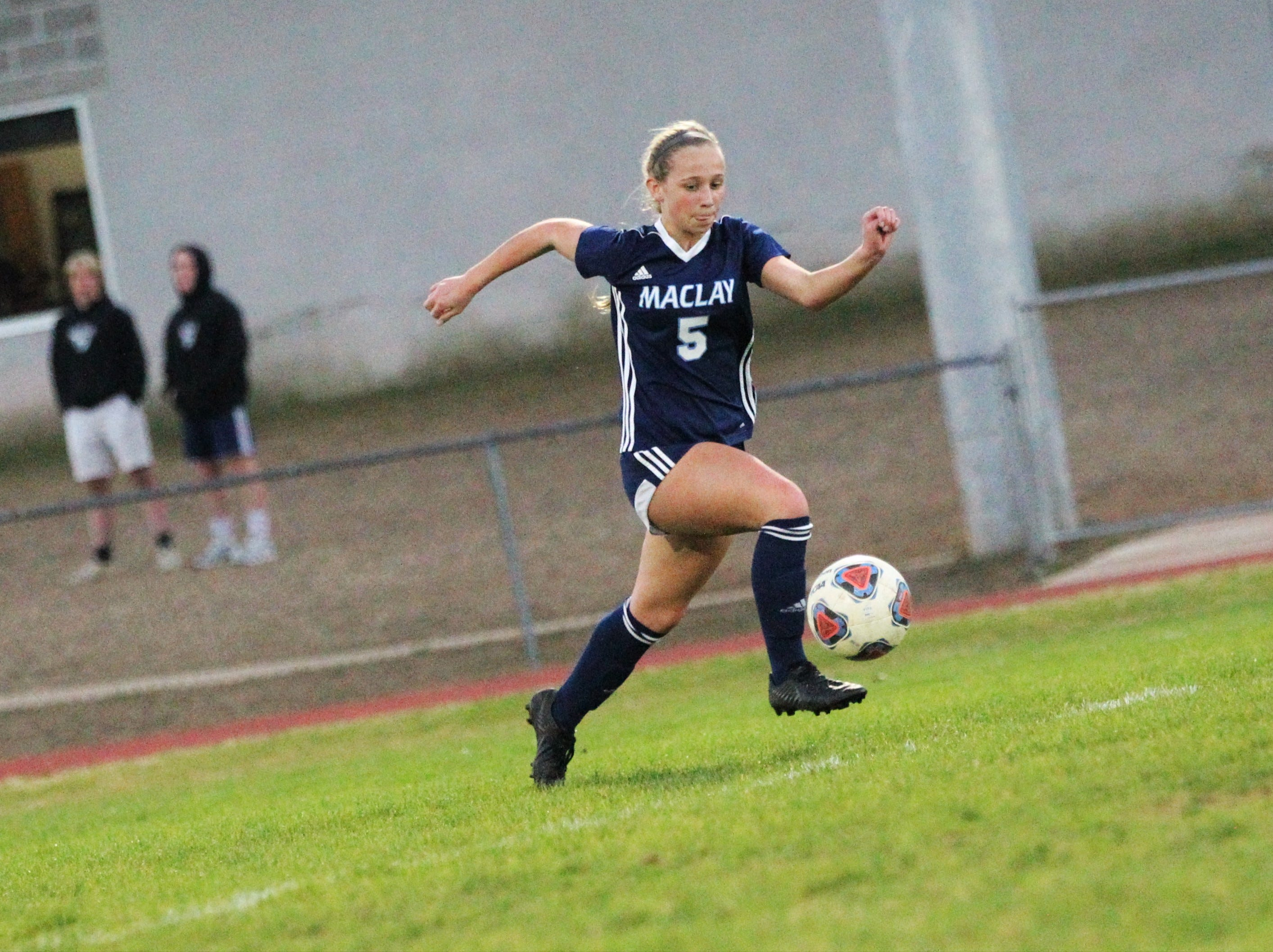 Maclay's Katelyn Dessi races down the left side as Maclay's girls soccer team beat St. Joseph Academy 4-0 in a Region 1-1A quarterfinal on Jan. 5, 2019.
